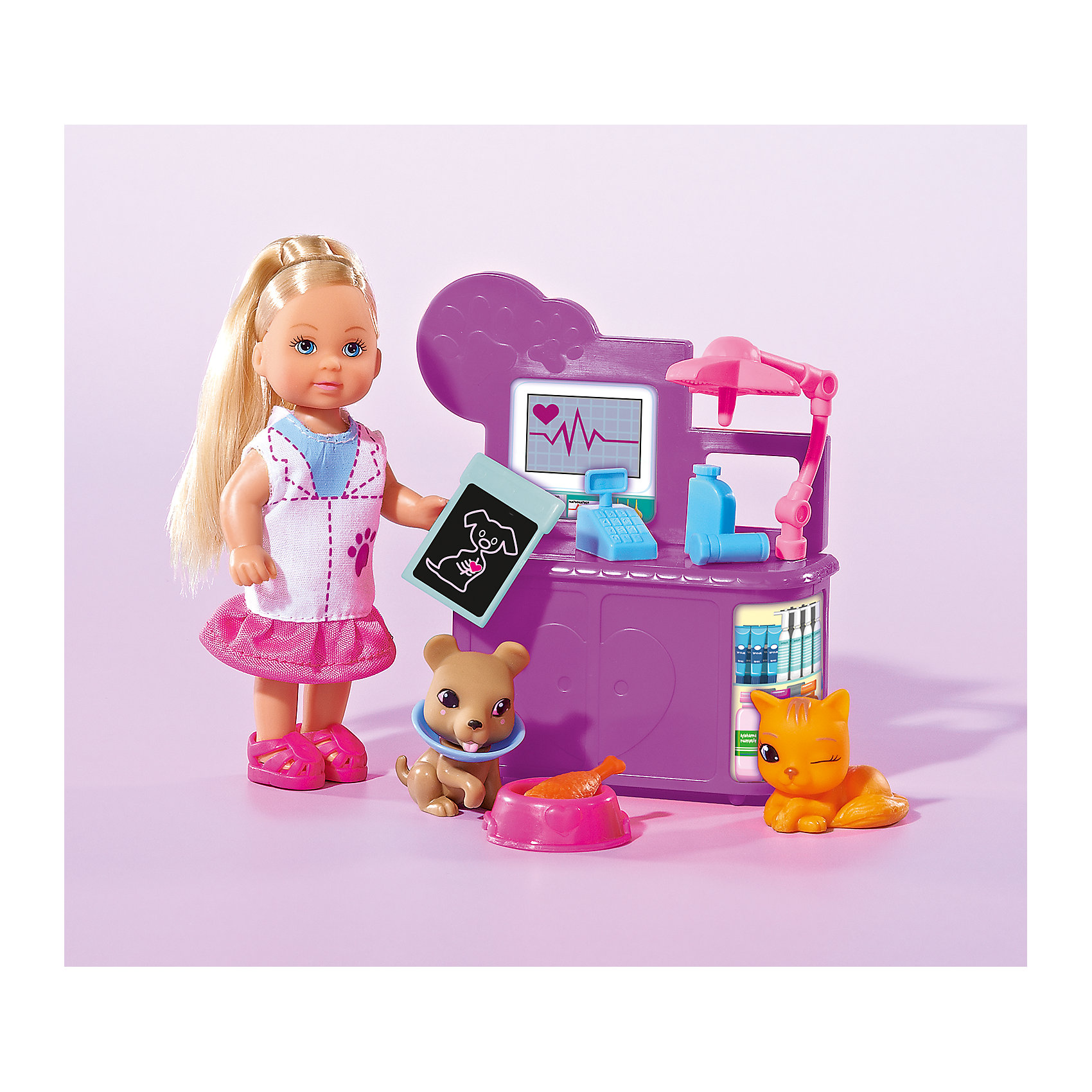 Кукла Еви-ветеринар, SimbaSteffi и Evi Love<br>Характеристики товара:<br><br>- цвет: разноцветный;<br>- материал: пластик;<br>- возраст: от трех лет;<br>- комплектация: кукла, аксессуары;<br>- высота куклы: 12 см.<br><br>Эта симпатичная кукла Еви от известного бренда не оставит девочку равнодушной! Какая девочка сможет отказаться поиграть с куклами, которые дополнены комплектом специальных предметов?! В набор входят аксессуары для игр с куклой. Игрушка очень качественно выполнена, поэтому она станет замечательным подарком ребенку. <br>Продается набор в красивой удобной упаковке. Игры с куклами помогают девочкам развить важные навыки и отработать модели социального взаимодействия. Изделие произведено из высококачественного материала, безопасного для детей.<br><br>Набор кукла Еви-ветеринар от бренда Simba можно купить в нашем интернет-магазине.<br><br>Ширина мм: 203<br>Глубина мм: 167<br>Высота мм: 55<br>Вес г: 190<br>Возраст от месяцев: 36<br>Возраст до месяцев: 84<br>Пол: Женский<br>Возраст: Детский<br>SKU: 4129100