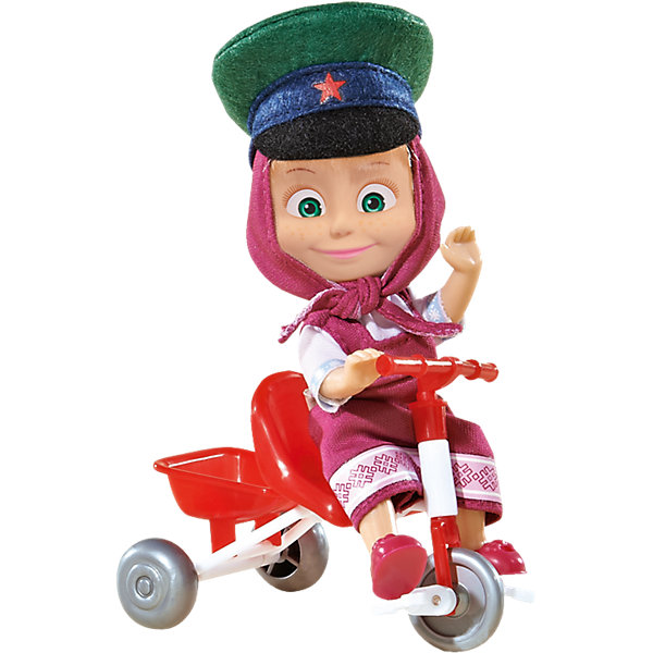 Кукла Маша с велосипедом, Маша и Медведь, SimbaКуклы<br>Кукла Маша с велосипедом, Маша и Медведь, Simba (Симба) – это прекрасный игровой набор по мотивам мультсериала Маша и медведь.<br>Кукла представляет собой фигурку Маши - персонажа популярного отечественного мультфильма, которую можно посадить на велосипед. Она одета в любимый сарафан лилового цвета, а на голове у нее платочек и армейская фуражка с красной звездой. Ручки и ножки Маши подвижны, ей можно придавать различные позы, оживляя игру. Колесики велосипеда крутятся, благодаря чему игра будет намного интереснее.<br><br>Дополнительная информация:<br><br>- В наборе: кукла Маша в фуражке, велосипед<br>- Высота куклы: 12 см.<br>- Материал: пластик, текстиль<br>- Размер упаковки: 10 х 7 х 16 см.<br>- Вес: 130 гр.<br><br>Куклу Машу с велосипедом, Маша и Медведь, Simba (Симба) можно купить в нашем интернет-магазине.<br>Ширина мм: 165; Глубина мм: 103; Высота мм: 74; Вес г: 125; Возраст от месяцев: 36; Возраст до месяцев: 84; Пол: Женский; Возраст: Детский; SKU: 4129102;