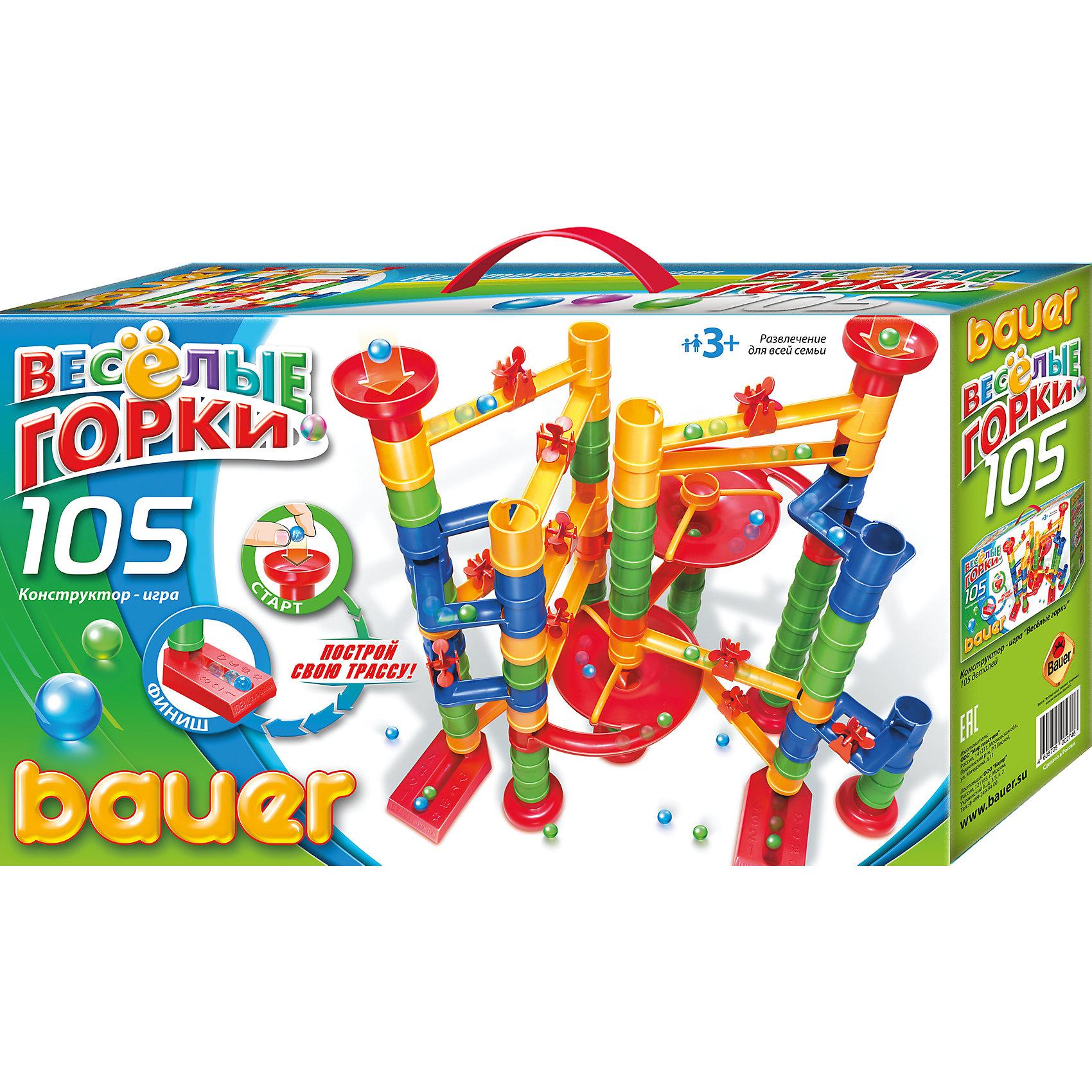 Конструктор Весёлые горки 105 деталей, BauerПластмассовые конструкторы<br>Конструктор Весёлые горки 105 деталей, Bauer (Бауер) – этот набор сочетает в себе конструктор и головоломку.<br>Конструктор «Веселые горки» Bauer (Бауер) – это увлекательная игра по созданию и прохождению лабиринтов. Из множества пластиковых трубок, воронок и желобков необходимо правильно построить трассу - горку для шарика. Четыре варианта сборки многоуровневых трасс указаны на упаковке. Изучив их конструкцию и поняв принцип соединения деталей, ваш ребенок сможет придумать свою трассу. Чем хитроумнее она будет, тем более непредсказуемым окажется путь шарика к финишу. Количество конструкций ограничено только детским воображений – а значит, бесконечно! Все самое интересное начинается после сборки. Можно просто пускать шарики, выбирая для них каждый раз, новый путь. А можно устроить соревнование, в котором победителем становится тот, кто смог направить шарик к финишу исключительно силой конструкторского дарования. Детали конструктора сделают итог гонки непредсказуемым. Воронка замедляет движение и может сбить шарик с пути. Сдвоенный желоб перемешивает шарики и раскидывает их по чужим воротам. Эта веселая игра развивает внимание, память, координацию движений. Ребенок учится анализировать, делать выводы, следить за собственными действиями. Конструирование прекрасно развивает логическое и пространственное мышление ребенка. Конструктор изготовлен из безопасного, качественного пластика, обеспечивающего легкое и надежное соединение деталей, а также длительное использование деталей без образования сколов и трещин.<br><br>Дополнительная информация:<br><br>- Количество деталей: 105<br>- Материал: пластик<br>- Упакован в картонную коробку с ручкой для переноски<br>- Размер коробки: 490х120х285 мм.<br>- Вес: 1510 г.<br><br>Конструктор Весёлые горки 105 деталей, Bauer (Бауер) можно купить в нашем интернет-магазине.<br><br>Ширина мм: 490<br>Глубина мм: 120<br>Высота мм: 285<br>Вес г: 1510<br>Возраст от месяц