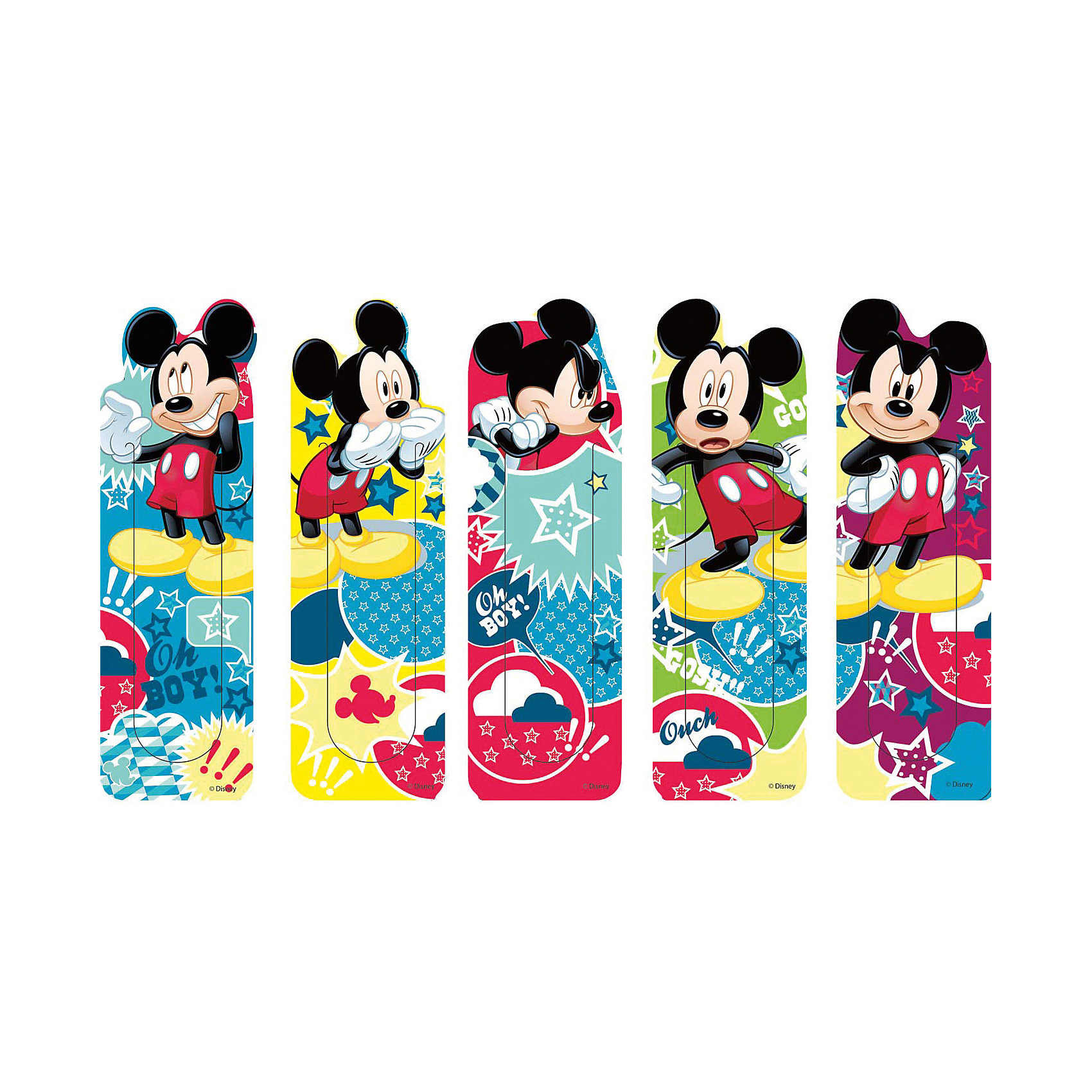 Набор закладок Микки Маус (5 шт)Микки Маус и друзья<br>Яркие канцелярские принадлежности с привлекательным дизайном и любимыми героями сделают школьные занятия веселее и поднимут настроение маленькому школьнику. Набор закладок Микки Маус включает в себя 5 красочных закладок, украшенных изображениями веселого мышонка Микки Мауса из популярных диснеевских мультфильмов.<br><br>Дополнительная информация:<br><br>- В комплекте: 5 шт.<br>- Материал: пластик.<br>- Размер упаковки: 18 х 5,6 см.<br>- Вес: 19 гр.<br><br>Набор закладок Микки Маус (5 шт.) можно купить в нашем интернет-магазине.<br><br>Ширина мм: 1<br>Глубина мм: 230<br>Высота мм: 8<br>Вес г: 19<br>Возраст от месяцев: 48<br>Возраст до месяцев: 96<br>Пол: Унисекс<br>Возраст: Детский<br>SKU: 4131214