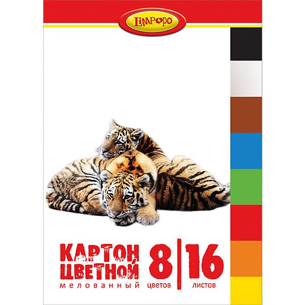 Цветной картон А4 Хищники 8 цветов, 16 листовБумажная продукция<br>Цветной картон Хищники - это отличный материал для детского творчества, поделок и аппликаций. В комплект входят 16 листов мелованного цветного картона 8 цветов. Листы упакованы в папку с изображениями очаровательных тигров.<br><br>Дополнительная информация:<br><br>- В комплекте: 16 листов 8 цветов.<br>- Материал: картон, бумага.<br>- Формат: A4. <br>- Размер: 30 х 0,5 х 21 см.<br>- Вес: 218 гр.<br><br>Цветной картон А4 Хищники 8 цветов, 16 листов, можно купить в нашем интернет-магазине.<br><br>Ширина мм: 5<br>Глубина мм: 300<br>Высота мм: 210<br>Вес г: 218<br>Возраст от месяцев: 48<br>Возраст до месяцев: 96<br>Пол: Унисекс<br>Возраст: Детский<br>SKU: 4131221