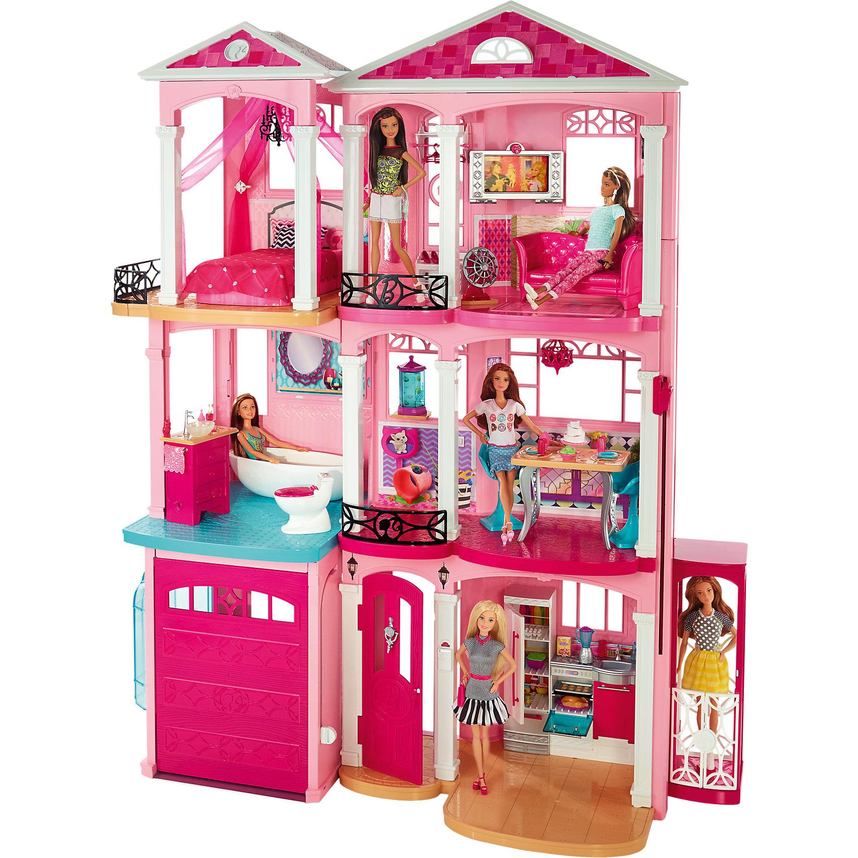 Дом мечты BarbieИгрушечные домики и замки<br>Самый лучший дом для самой лучшей куклы на свете! В этом доме есть все, для прекрасной и беззаботной жизни. Он состоит из трех этажей, на первом этаже располагается гараж и кухня. В чудесной просторной кухне Барби и ее подруги смогут приготовить множество изысканных блюд. Скорее поднимайся на второй этаж, здесь ты сможешь принять освежающую ванну и после этого проследовать в столовую, накрывать на стол. На третьем этаже располагается уютная спальня и гостиная для встречи с любимыми друзьями. Не обязательно спускаться и подниматься самостоятельно: в доме работает настоящий лифт! Рядом  располагается шикарный бассейн, в котором Барби может отдыхать и плескаться в жаркую погоду. В доме множество мебели и нужных аксессуаров, он так походит на настоящий особняк. Скорее приглашай друзей и устраивай шикарную вечеринку вместе с Барби. Все детали набора выполнены из высококачественного прочного пластика и прекрасно проработаны. Ваша малышка придет в неописуемый восторг от такого чудесного подарка! <br><br>Дополнительная информация:<br><br>- Материал: пластик.<br>- Размер дома: 20х75х85 см.<br>- Куклы, автомобиль и домашние животные продаются отдельно. <br>- Элемент питания: 3 ААА батарейки (не входят в комплект).<br><br>Дом мечты Barbie (Барби) можно купить в нашем магазине.<br><br>Ширина мм: 762<br>Глубина мм: 762<br>Высота мм: 212<br>Вес г: 12000<br>Возраст от месяцев: 36<br>Возраст до месяцев: 72<br>Пол: Женский<br>Возраст: Детский<br>SKU: 4132290