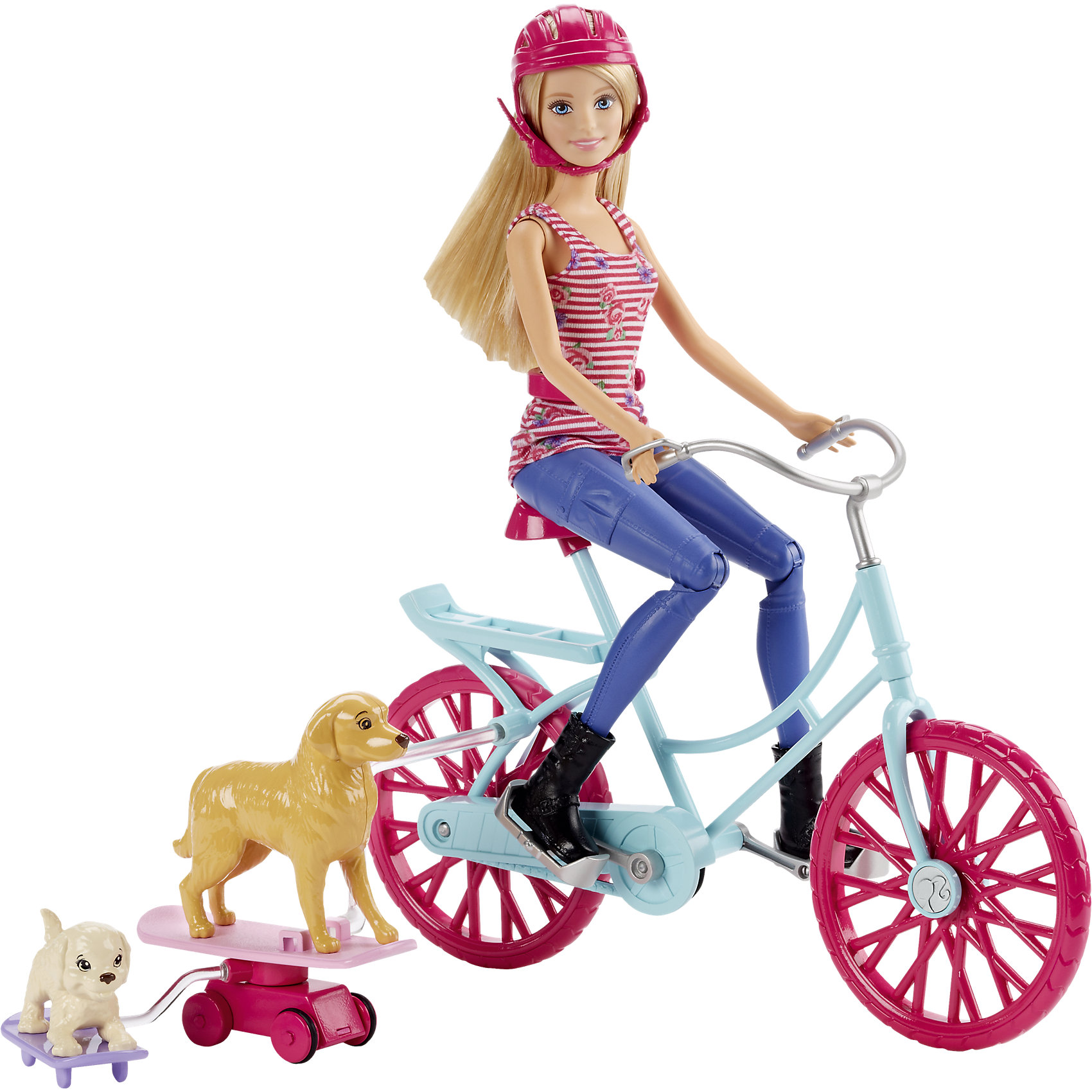 Кукла Barbie на велосипеде с питомцем