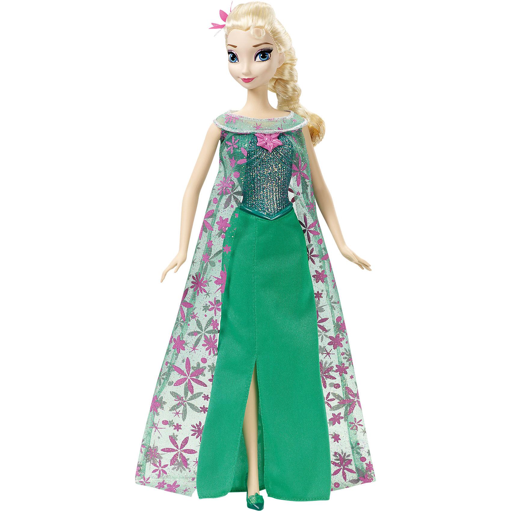 Кукла Эльза из м/ф Холодное Сердце: Холодное торжество, со звуком, Принцессы ДиснейКукла Эльза, Холодное сердце, Принцессы Дисней, станет прекрасным подарком для всех поклонниц популярного диснеевского мультфильма Frozen. Внешний вид куклы полностью соответствует своей героине из мультфильма. У Эльзы длинные светлые волосы, заплетенные в толстую косу. Она одета в роскошное зеленое платье с переливающимся корсетом, сверху ее покрывает длинная полупрозрачная накидка с розовыми узорами, на ножках изящные туфельки в тон платья. На груди у Эльзы розовый кулон, нажав на который, Вы услышите песню из мультфильма на английском языке. У куклы подвижные руки и ноги. Игрушка выполнена из качественных материалов, которые абсолютно безопасны для детского здоровья. <br><br>Дополнительная информация:<br><br>- Материал: пластик, текстиль.<br>- Требуются батарейки:  3 x AG13 / LR44 (входят в комплект).<br>- Высота куклы: 28 см.<br>- Размер упаковки: 33 x 21 x 6 см.  <br>- Вес: 0,3 кг. <br><br>Куклу Эльзу из м/ф Холодное Сердце: Холодное торжество, со звуком, Принцессы Дисней, можно купить в нашем интернет-магазине.<br><br>Ширина мм: 332<br>Глубина мм: 203<br>Высота мм: 60<br>Вес г: 276<br>Возраст от месяцев: 36<br>Возраст до месяцев: 72<br>Пол: Женский<br>Возраст: Детский<br>SKU: 4132317