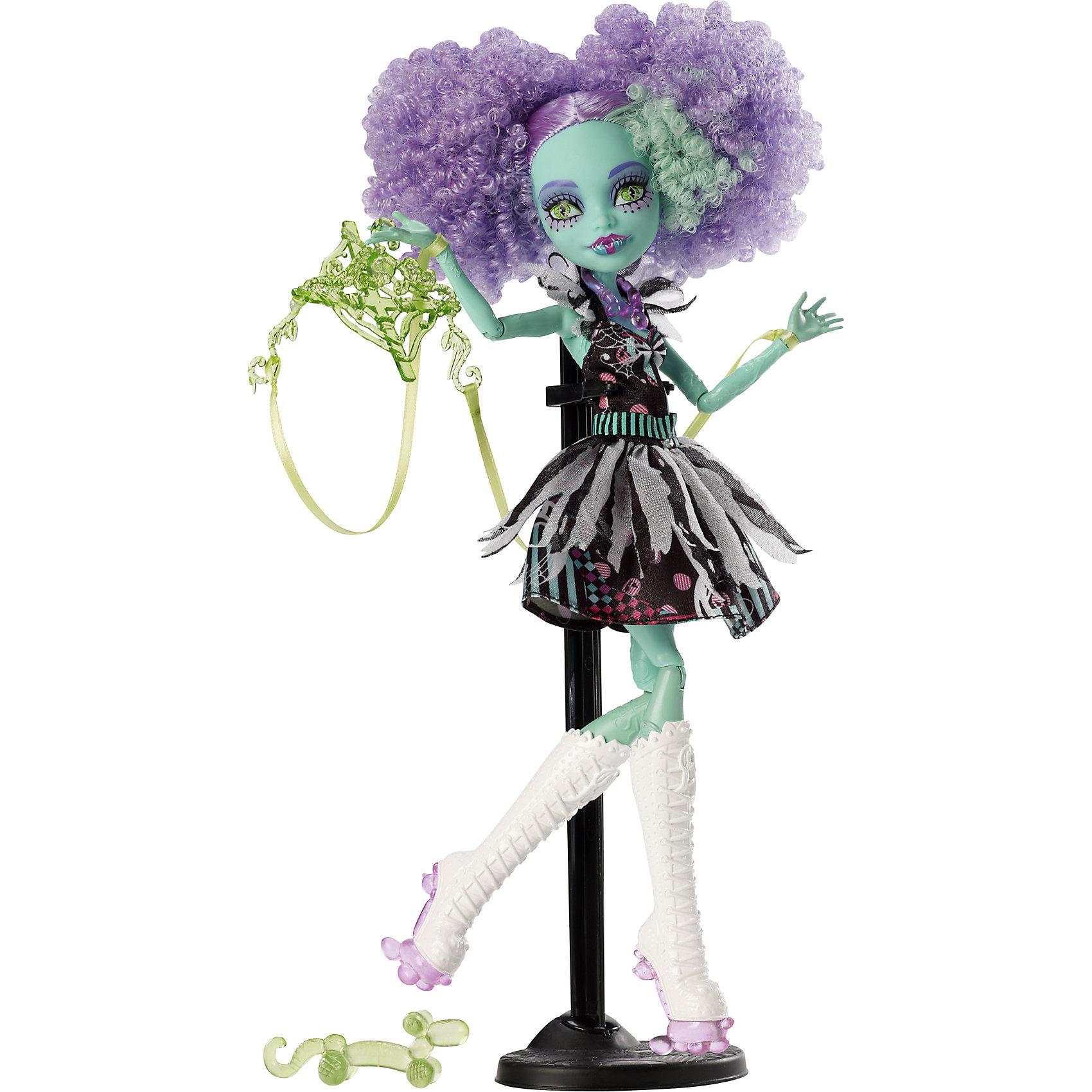 Кукла Фрик дю Шик  Шапито, Monster HighПопулярные игрушки<br>Ученики школы Monster High (Монстр Хай) знают, как представить свои жуткие недостатки в наилучшем виде. Невероятный танец Фрик дю Шик станет для наших монстров лекарством от всех невзгод. Монстрики готовы блеснуть в свете прожекторов, примерив на себя амплуа цирковых артистов. Хани Свомп выступает в роли марионетки с привязанными к конечностям ниточками, она одета в стильное черно-розовое платье, на ногах у модницы - невероятные сапоги на платформе. Умопомрачительный образ для самой безумной вечеринки! <br><br>Дополнительная информация:<br><br>- Высота куклы: 27 см.<br>- Голова, ноги, руки подвижные (шарнирные).<br>- Комплектация: кукла, одежда, расческа, подставка, дневник. <br>- Материал: пластик, текстиль.<br><br>Куклу Фрик дю Шик  Шапито, Monster High (Школа монстров),  можно купить в нашем магазине.<br><br>Ширина мм: 326<br>Глубина мм: 205<br>Высота мм: 67<br>Вес г: 297<br>Возраст от месяцев: 72<br>Возраст до месяцев: 120<br>Пол: Женский<br>Возраст: Детский<br>SKU: 4132323