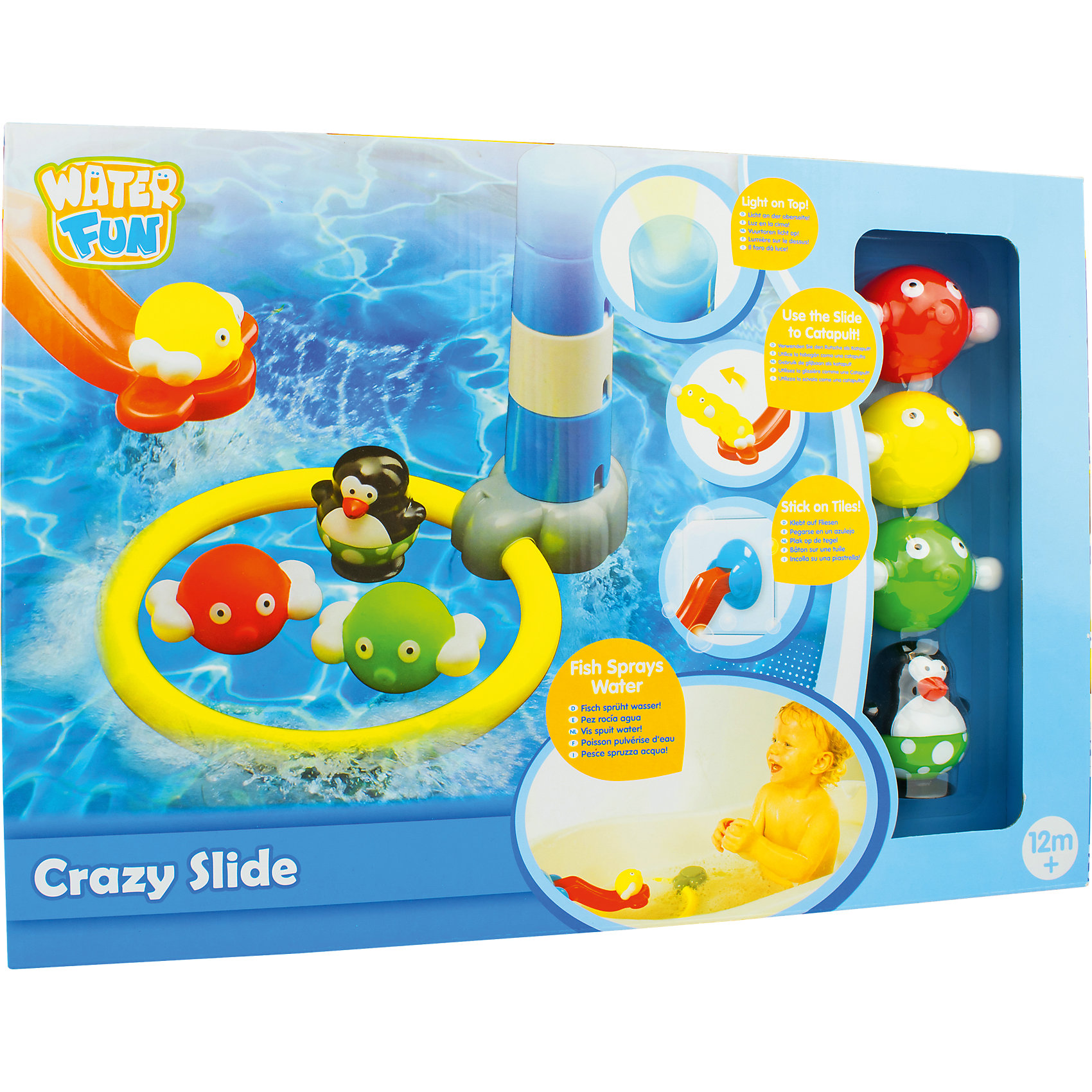 Набор для ванны Водный трамплин, Water FunИгровые наборы<br>Water Fun – это линия игрушек для ванной от компании Toy Target. Веселые пингвины в пляжных костюмах сделают заурядную водную процедуру занимательной и веселой игрой!<br>Набор «Водный трамплин» состоит из фигурки пингвина, горки, которая крепится на бортик ванной, трех мячиков и маяка с кольцом. Суть игры в том, чтобы запустить мячик с горки прямо в кольцо. Если Вы промахнетесь и попадете в маяк, то при попадании в воду его верхняя часть засветится красным.<br><br>Дополнительная информация:<br><br>Размер упаковки: 62 х 42 х 30 см<br><br>Набор для ванны Водный трамплин, Water Fun можно купить в нашем магазине.<br><br>Ширина мм: 406<br>Глубина мм: 281<br>Высота мм: 104<br>Вес г: 638<br>Возраст от месяцев: 0<br>Возраст до месяцев: 36<br>Пол: Унисекс<br>Возраст: Детский<br>SKU: 4133149