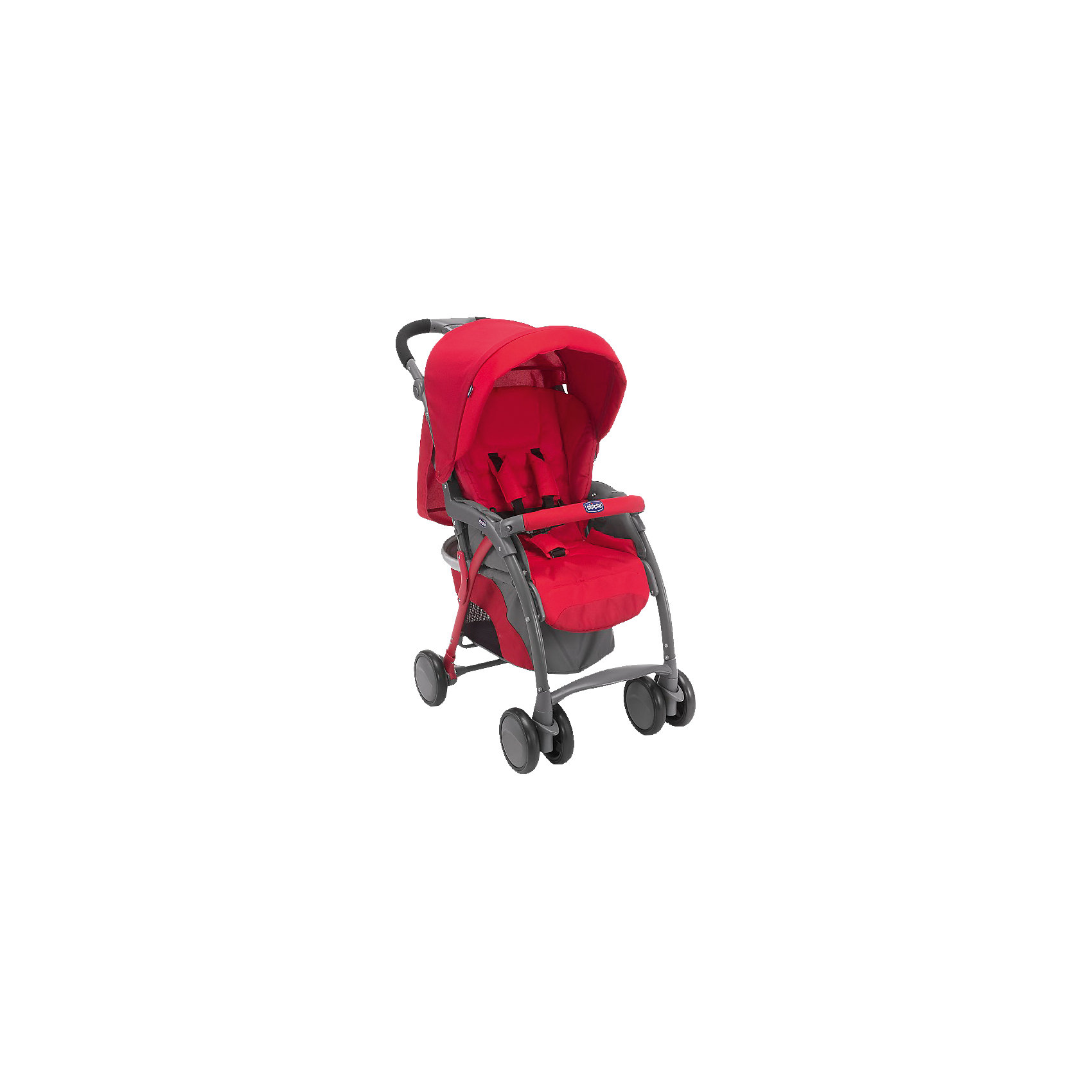 Прогулочная коляска Simplycity Plus Top, Chicco, красныйПрогулочная коляска Simplycity Plus Top, Chicco - легкая современная прогулочная коляска, которая отвечает всем требованиям комфорта и безопасности малыша. Практичная и легкая в использовании, она идеально подходит для городской жизни. Коляска оснащена широким сиденьем из мягкой ткани с 5-точечными ремнями безопасности и мягким съемным бампером. Спинка раскладывается в 5 различных положениях, вплоть до горизонтального. Регулируемая подножка обеспечивает малышу правильную осанку. Складной капюшон с прозрачным окошком сзади защитит от солнца и дождя. Для родителей предусмотрена удобная, регулируемая по высоте ручка с антискользящим покрытием и вместительная корзина для принадлежностей малыша. <br><br>Коляска оснащена 4 колесами с пластиковым ободом, передние - сдвоенные, поворотные с возможностью фиксации. Коляска легко и компактно складывается одной рукой, что позволяет использовать ее во время поездок и путешествий, имеется ручка для транспортировки в сложенном состоянии. Оснащена креплением для установки автомобильного кресла группы 0+ Key Fit. Обивку можно снимать и стирать при t 30 градусов. <br><br>Особенности:<br><br>- удобна для транспортировки и хранения;<br>- прочная легкая алюминиевая рама;<br>- эргономичное прогулочное сиденье;<br>- регулируемый в 4 положениях наклон спинки;<br>- съемный бампер;<br>- большой складной капюшон с окошком;<br>- корзина для вещей ребенка;<br>- дождевик;<br>- накидка на ноги;<br>- сумка для мамы;<br>- легко, одной рукой складывается тростью.<br><br>Дополнительная информация:<br><br>- Цвет: красный.<br>- Материал: текстиль, металл, пластик.<br>- Диаметр колес: 16 см.<br>- Ширина шасси: 50 см.<br>- Размер сиденья: 34 х 27 см.<br>- Размер спального места: 77 х 29 см.<br>- Высота спинки: 44 см.<br>- Размер в разложенном виде: 50 x 102 x 81 см.<br>- Размер в сложенном виде: 50 х 32,5 x 85 см.<br>- Размер упаковки: 43,5 х 30 х 64 см.<br>- Вес: 9,03 кг.<br><br>Прогулочную коляску 