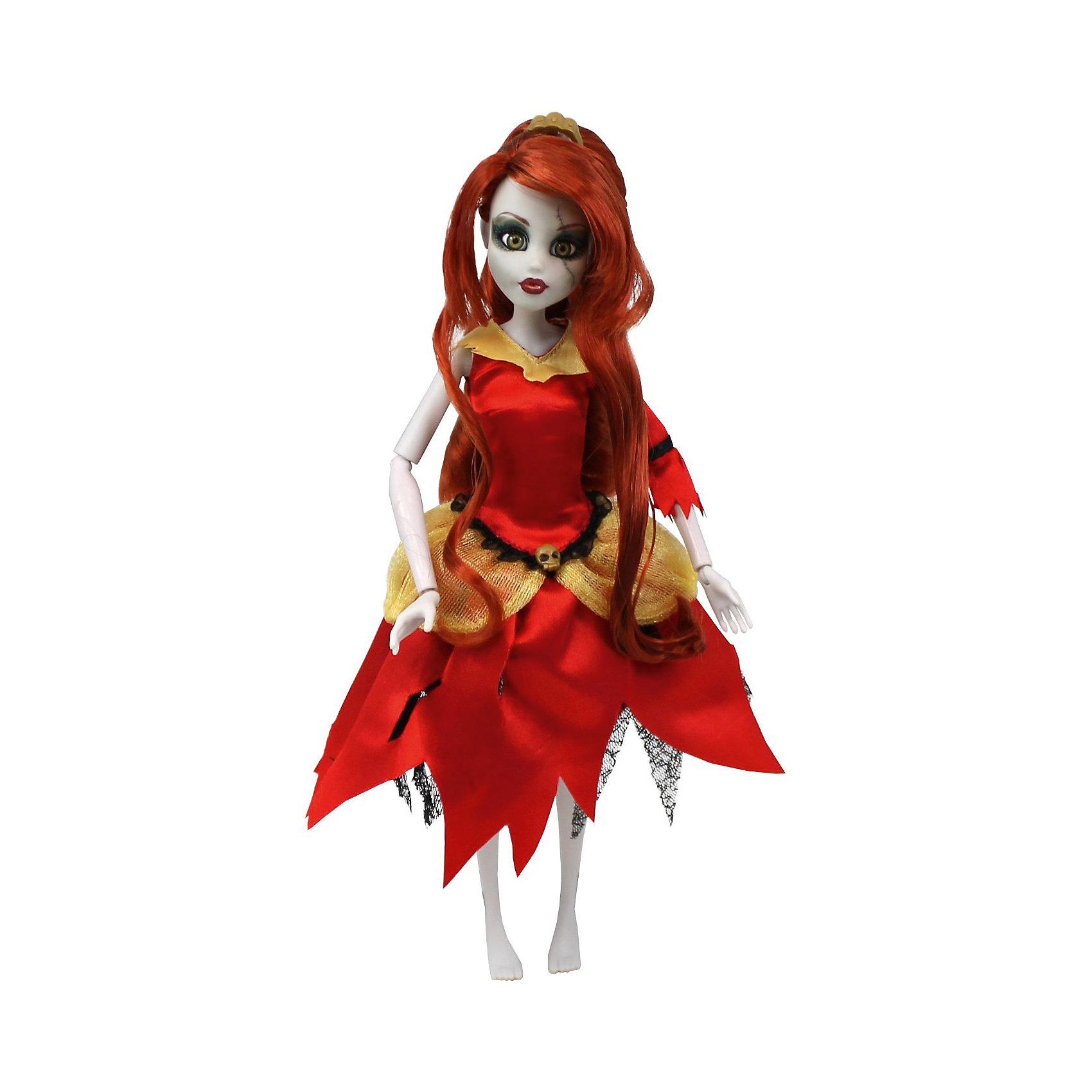 Кукла Зомби: Белль, WowWeeКукла Зомби: Белль от WowWee - это сказочный персонаж , превращенный в загадочную и холодную принцессу-зомби. Несмотря на превращение, принцесса не утратила своей красоты, даже наоборот, приобрела определенный потусторонний шарм и очарование. Длинные огненно-рыжие волосы куклы очень приятны наощупь, из них получится много оригинальных причесок. Белль одета в невероятное красно-золотое платье с пышной юбкой и подъюбником из сетки. Голову куклы венчает золотая диадема. Собери всю коллекцию принцесс-зомби и устрой незабываемый бал!<br><br>Дополнительная информация:<br><br>- Материал: пластик, текстиль.<br>- Высота куклы: 28 см.<br>- Комплектация: кукла, расческа, подставка.<br>- Руки, ноги, голова куклы подвижные.<br><br>Куклу Зомби: Белль, WowWee, можно купить в нашем магазине.<br><br>Ширина мм: 150<br>Глубина мм: 70<br>Высота мм: 350<br>Вес г: 150<br>Возраст от месяцев: 72<br>Возраст до месяцев: 168<br>Пол: Женский<br>Возраст: Детский<br>SKU: 4134075