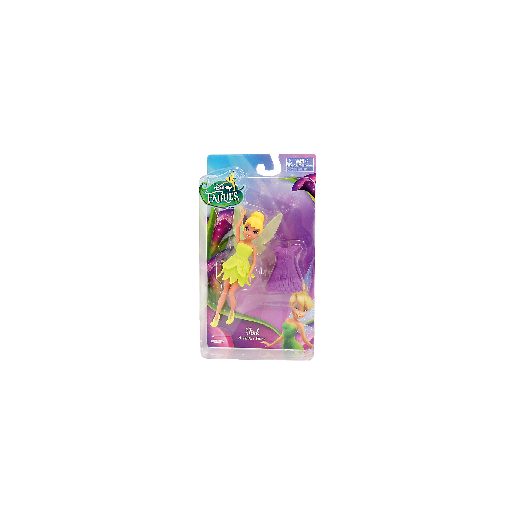 Мини-кукла Фея с дополнительным  платьем, Феи ДиснейВ набор входит одна фея из серии Дисней «Волшебные феи» и одно дополнительное платье.  <br>Кукла фея Динь-Динь – или Тинкербелл – одета в зеленое платьице, а в комплекте идет фиолетовое. Серебрянка – фея воды, на ней платье голубого цвета модного покроя, а дополнительное платье – розовое. Розетта одета в красное платье.<br><br>Дополнительная информация:<br><br>В комплекте дополнительное платье<br>У куколок подвижные ручки и ножки<br>Высота фигурок – 11 см.<br><br>ВНИМАНИЕ! Данный артикул представлен в разных вариантах исполнения (три набора на выбор - с Динь-Динь, Розеттой или Серебрянкой). К сожалению, заранее выбрать определенный вариант невозможно. При заказе нескольких кукол возможно получение одинаковых.<br><br>Мини-куклу Фея с дополнительным  платьем, Disney Fairies можно купить в нашем магазине.<br><br>Ширина мм: 115<br>Глубина мм: 205<br>Высота мм: 45<br>Вес г: 95<br>Возраст от месяцев: 36<br>Возраст до месяцев: 84<br>Пол: Женский<br>Возраст: Детский<br>SKU: 4135934