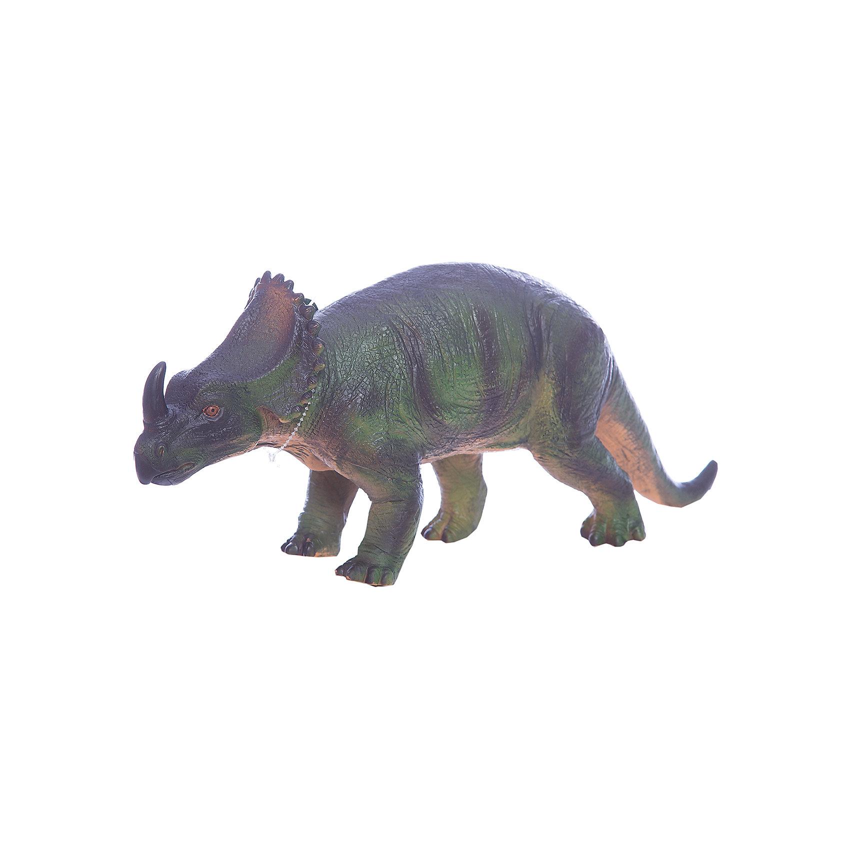 Фигурка динозавра Центрозавр, HGLДинозавры и драконы<br>Детей всех возрастов привлекают фильмы и рассказы о доисторических временах и чудесных динозаврах, населявших Землю до возникновения человека. Подстегните фантазию юного любителя древностей - подарите ему динозавра из серии игрушек HGL. Специалисты компании создавали игрушки максимально похожими на своих прародителей, поэтому динозавры HGL такие интересные. Центрозавр - фигурка травоядного доисторического ящера средних размеров, существовавшего на Земле около 80 миллионов лет назад. Он достигал в длину 6 метров, а челюсть его оканчивалась массивным клювом, благодаря которому Центрозавр мог откусывать ветки. Центрозавр передвигался на четырех лапах и имел костный воротник вокруг шеи, который помогал ему не стать легкой добычей для хищников. Центрозавр знаменит большим рогом над челюстью, придающим ему особое сходство с современным носорогом. При помощи рогов небольшие травоядные динозавры, сбивавшиеся в стада, отлично защищались от набегов гигантских хищников. Ребенок будет в восторге от такой замечательной фигурки. Массивный динозавр сделан из мягкого ПВХ безопасного для детей. Внушительные размеры и отличная детализация Центрозавра помогут ребенку окунуться в далекий и такой манящий доисторический мир, полный приключений.<br><br>Дополнительная информация:<br><br>- Внешний вид фигурки основан на реальных данных палеонтологов;<br>- Материал: ПВХ;<br>- Размер фигурки: 40 см;<br>- Размер упаковки: 43 х 17,5 х 15 см;<br>- Вес: 750 г<br><br>Фигурку динозавра Центрозавр, HGL можно купить в нашем интернет-магазине.<br><br>Ширина мм: 430<br>Глубина мм: 175<br>Высота мм: 150<br>Вес г: 750<br>Возраст от месяцев: 36<br>Возраст до месяцев: 192<br>Пол: Унисекс<br>Возраст: Детский<br>SKU: 4135943