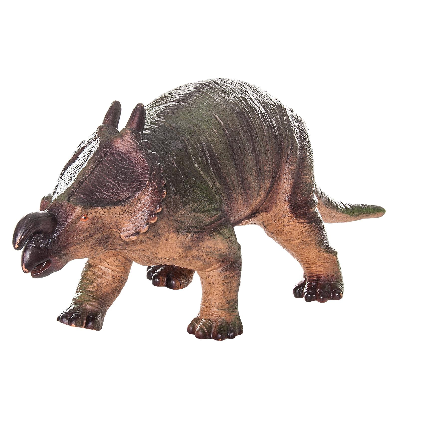 Фигурка динозавра Эйнозавр, HGLДетей всех возрастов привлекают фильмы и рассказы о доисторических временах и чудесных динозаврах, населявших Землю до возникновения человека. Подстегните фантазию юного любителя древностей - подарите ему динозавра из серии игрушек HGL. Специалисты компании создавали игрушки максимально похожими на своих прародителей, поэтому динозавры HGL такие интересные. Эйниозавр - фигурка травоядного доисторического ящера средних размеров, существовавшего на Земле около 70 миллионов лет назад. Он достигал в длину 6 метров, а челюсть его оканчивалась массивным клювом, благодаря которому Эйниозавр мог откусывать ветки. Эйниозавр передвигался на четырех лапах и имел костный воротник с двумя крупными рогами вокруг шеи, который помогал ему не стать легкой добычей для хищников. Эйниозавр знаменит большим рогом над челюстью, придающим ему особое сходство с современным носорогом. Ни одна история об эре динозавров невозможна без этого необычного динозавра. Ребенок будет в восторге от такой замечательной фигурки. Массивный динозавр сделан из мягкого ПВХ безопасного для детей. Внушительные размеры и отличная детализация Эйниозавра помогут ребенку окунуться в далекий и такой манящий доисторический мир, полный приключений.<br><br>Дополнительная информация:<br><br>- Внешний вид фигурки основан на реальных данных палеонтологов;<br>- Материал: ПВХ;<br>- Размер фигурки: 40 см;<br>- Размер упаковки: 44 х 18 х 14 см;<br>- Вес: 750 г<br><br>Фигурку динозавра Эйниозавр, HGL можно купить в нашем интернет-магазине.<br><br>Ширина мм: 440<br>Глубина мм: 180<br>Высота мм: 140<br>Вес г: 750<br>Возраст от месяцев: 36<br>Возраст до месяцев: 192<br>Пол: Унисекс<br>Возраст: Детский<br>SKU: 4135944
