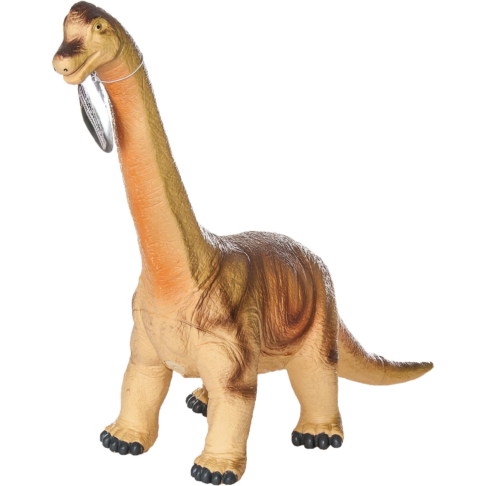 Фигурка динозавра Брахиозавр, HGLДетей всех возрастов привлекают фильмы и рассказы о доисторических временах и чудесных динозаврах, населявших Землю до возникновения человека. Подстегните фантазию юного любителя древностей - подарите ему динозавра из серии игрушек HGL. Специалисты компании создавали игрушки максимально похожими на своих прародителей, поэтому динозавры HGL такие интересные. Брахиозавр - фигурка огромного доисторического ящера, чем-то напоминающего современного жирафа. Он достигал 23 метров в длину и 12 метров в высоту. Такому гиганту требовалось 1500 кг еды в день! Благодаря огромной шее Брахиозавр мог доставать листья даже с очень высоких деревьев. Брахиозавр был одним из самых больших динозавров, населявших Землю более 140 миллионов лет тому назад. Ни одна история об эре динозавров невозможна без этого необычного динозавра. Ребенок будет в восторге от такого замечательного подарка. Массивный динозавр сделан из мягкого ПВХ безопасного для ребенка. Внушительные размеры и отличная детализация Брахиозавра помогут ребенку окунуться в далекий и такой манящий доисторический мир, полный приключений.<br><br>Дополнительная информация:<br><br>- Внешний вид фигурки основан на реальных данных палеонтологов;<br>- Материал: ПВХ;<br>- Размер фигурки: 40 см;<br>- Размер упаковки: 45 х 33 х 15 см;<br>- Вес: 750 г<br><br>Фигурку динозавра Брахиозавр, HGL можно купить в нашем интернет-магазине.<br><br>Ширина мм: 450<br>Глубина мм: 330<br>Высота мм: 150<br>Вес г: 750<br>Возраст от месяцев: 36<br>Возраст до месяцев: 192<br>Пол: Унисекс<br>Возраст: Детский<br>SKU: 4135946
