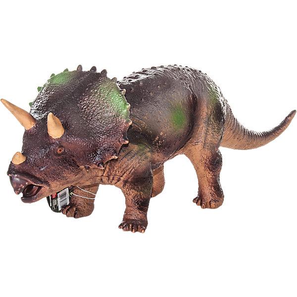 Фигурка динозавра Трицератопс, HGLМир животных<br>Детей всех возрастов привлекают фильмы и рассказы о доисторических временах и чудесных динозаврах, населявших Землю до возникновения человека. Подстегните фантазию юного любителя древностей - подарите ему динозавра из серии игрушек HGL. Специалисты компании создавали игрушки максимально похожими на своих прародителей, поэтому динозавры HGL такие интересные. Трицератопс - фигурка травоядного доисторического ящера огромных размеров, существовавшего на Земле около 70 миллионов лет назад. Он достигал в длину 9 метров, а челюсть его оканчивалась массивным клювом, благодаря которому Трицератопс мог откусывать ветки. Трицератопс передвигался на четырех лапах и имел костный воротник вокруг шеи, который помогал ему не стать легкой добычей для хищников. Трицератопс знаменит тремя рогами над челюстью, придающими ему особое сходство с современным носорогом. При помощи рогов травоядные динозавры, сбивавшиеся в стада, отлично защищались от набегов гигантских хищников. Ребенок будет в восторге от такой замечательной фигурки. Массивный динозавр сделан из мягкого ПВХ безопасного для детей. Внушительные размеры и отличная детализация Трицератопс помогут ребенку окунуться в далекий и такой манящий доисторический мир, полный приключений.<br><br>Дополнительная информация:<br><br>- Внешний вид фигурки основан на реальных данных палеонтологов;<br>- Материал: ПВХ;<br>- Размер фигурки: 40 см;<br>- Размер упаковки: 49 х 18 х 12 см;<br>- Вес: 750 г<br><br>Фигурку динозавра Трицератопс, HGL можно купить в нашем интернет-магазине.<br><br>Ширина мм: 490<br>Глубина мм: 180<br>Высота мм: 120<br>Вес г: 750<br>Возраст от месяцев: 36<br>Возраст до месяцев: 192<br>Пол: Унисекс<br>Возраст: Детский<br>SKU: 4135950