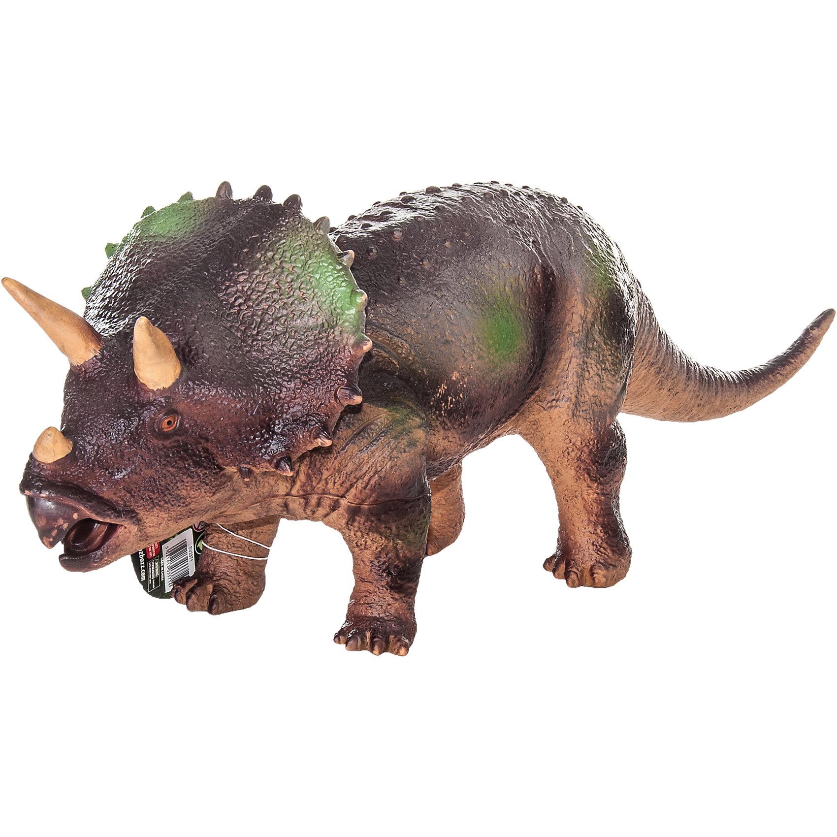 Фигурка динозавра Трицератопс, HGLДраконы и динозавры<br>Детей всех возрастов привлекают фильмы и рассказы о доисторических временах и чудесных динозаврах, населявших Землю до возникновения человека. Подстегните фантазию юного любителя древностей - подарите ему динозавра из серии игрушек HGL. Специалисты компании создавали игрушки максимально похожими на своих прародителей, поэтому динозавры HGL такие интересные. Трицератопс - фигурка травоядного доисторического ящера огромных размеров, существовавшего на Земле около 70 миллионов лет назад. Он достигал в длину 9 метров, а челюсть его оканчивалась массивным клювом, благодаря которому Трицератопс мог откусывать ветки. Трицератопс передвигался на четырех лапах и имел костный воротник вокруг шеи, который помогал ему не стать легкой добычей для хищников. Трицератопс знаменит тремя рогами над челюстью, придающими ему особое сходство с современным носорогом. При помощи рогов травоядные динозавры, сбивавшиеся в стада, отлично защищались от набегов гигантских хищников. Ребенок будет в восторге от такой замечательной фигурки. Массивный динозавр сделан из мягкого ПВХ безопасного для детей. Внушительные размеры и отличная детализация Трицератопс помогут ребенку окунуться в далекий и такой манящий доисторический мир, полный приключений.<br><br>Дополнительная информация:<br><br>- Внешний вид фигурки основан на реальных данных палеонтологов;<br>- Материал: ПВХ;<br>- Размер фигурки: 40 см;<br>- Размер упаковки: 49 х 18 х 12 см;<br>- Вес: 750 г<br><br>Фигурку динозавра Трицератопс, HGL можно купить в нашем интернет-магазине.<br><br>Ширина мм: 490<br>Глубина мм: 180<br>Высота мм: 120<br>Вес г: 750<br>Возраст от месяцев: 36<br>Возраст до месяцев: 192<br>Пол: Унисекс<br>Возраст: Детский<br>SKU: 4135950