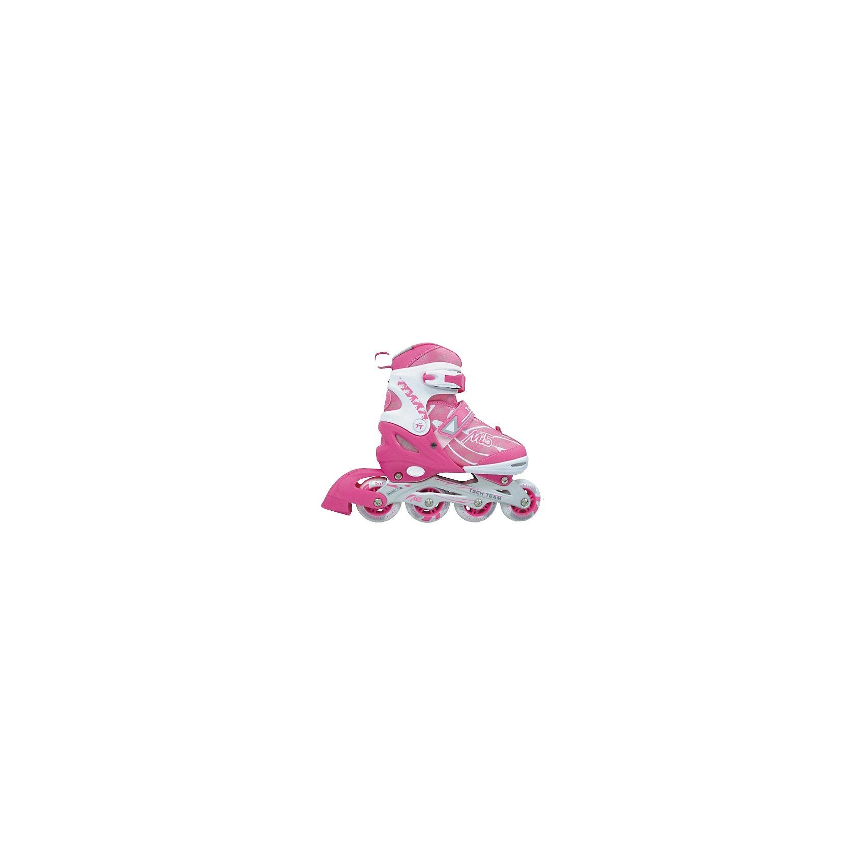 Роликовые коньки MI 5, Tech TeamУдобные раздвижные детские ролики MI 5, Tech Team, идеально подходят для комфортного и безопасного катания Вашего ребенка. Ролики приятной розово-белой расцветки выполнены в привлекательном для девочек дизайне. Мягкий внешний ботинок с мягким внутренним сапожком обеспечивает удобство и безопасность во время катания. Ролики оснащены кнопочной системой раздвижения на несколько размеров, что позволяет использовать их несколько сезонов. Специальные застежки - клипсы с фиксаторами, липучки и шнуровка хорошо фиксируют ногу. На заднем колесе имеется тормоз. Размер колес зависит от размера роликов: 58 мм., 64 мм., 70 мм., 76 мм. в соответствии с размерной сеткой. Катание на роликах способствует общему физическому развитию ребенка, тренирует ловкость, координацию движений и выносливость.<br><br>Дополнительная информация:<br><br>- Материал: высококачественный пластик, текстиль, колеса - PU (полиуретан).<br>- Размеры (в ассортименте): XS (27-30), S (31-34), M (35-38), L (39-42).<br>- Колеса (в зависимости от размера): 58 х 24; 64 х 24; 70 х 24; 76 х 24 мм.<br>- Подшипник: Abec-7 carbon. <br>- Алюминиевая рама.<br><br>Роликовые коньки MI 5, Tech Team, можно купить в нашем интернет-магазине.<br><br>Ширина мм: 420<br>Глубина мм: 105<br>Высота мм: 285<br>Вес г: 2300<br>Цвет: розовый<br>Возраст от месяцев: 60<br>Возраст до месяцев: 96<br>Пол: Женский<br>Возраст: Детский<br>Размер: 31-34,35-38,27-30<br>SKU: 4137036
