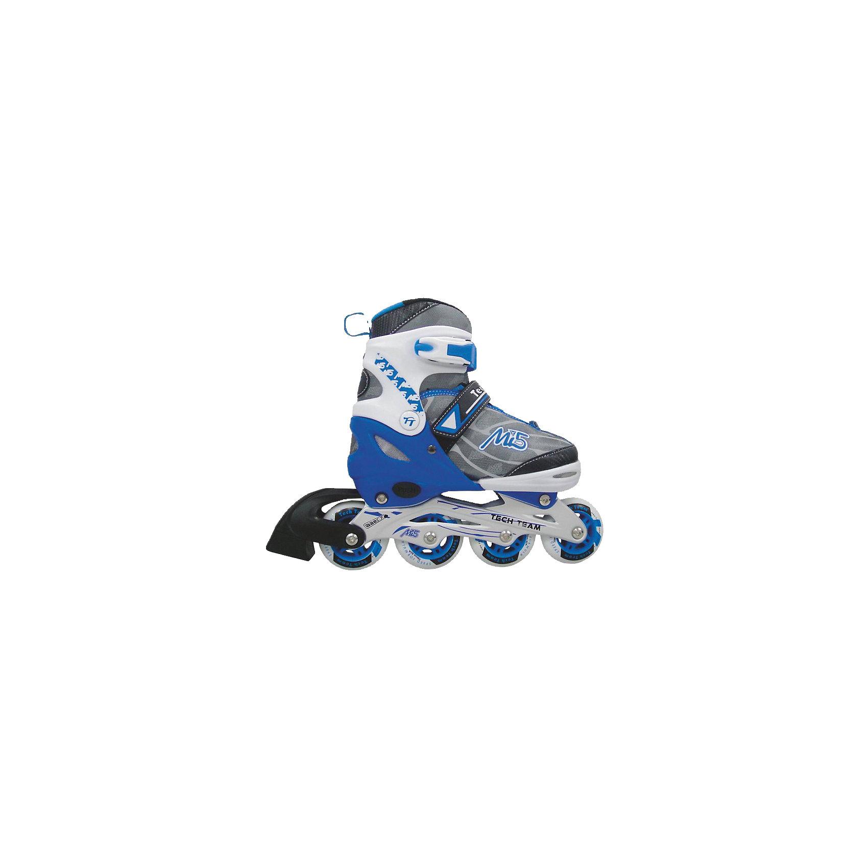 Роликовые коньки MI 5, Tech TeamРаздвижные ролики MI 5, Tech Team, идеально подходят для комфортного и безопасного катания Вашего ребенка. Ролики яркой синей с серым расцветки выполнены в стильном спортивном дизайне. Мягкий внешний ботинок из текстильных материалов и пластика с мягким внутренним сапожком обеспечивает удобство и безопасность во время катания. Ролики оснащены системой раздвижения на 3 полных размера, что позволяет использовать их несколько сезонов. Специальные застежки - клипсы с фиксаторами, липучки и шнуровка хорошо фиксируют ногу. На заднем колесе имеется тормоз. Размер колес зависит от размера роликов: 58 мм., 64 мм., 70 мм., 76 мм. в соответствии с размерной сеткой. Катание на роликах способствует общему физическому развитию ребенка, тренирует ловкость, координацию движений и выносливость.<br><br>Дополнительная информация:<br><br>- Материал: высококачественный пластик, текстиль, колеса - PU (полиуретан).<br>- Размеры: XS (27-30), S (31-34), M (35-38), L (39-42).<br>- Колеса (в зависимости от размера): 58 х 24; 64 х 24; 70 х 24; 76 х 24 мм.<br>- Подшипники: Abec-7 carbon. <br>- Алюминиевая рама.<br><br>Роликовые коньки MI 5, Tech Team, можно купить в нашем интернет-магазине.<br><br>Ширина мм: 420<br>Глубина мм: 105<br>Высота мм: 285<br>Вес г: 2300<br>Цвет: синий<br>Возраст от месяцев: 60<br>Возраст до месяцев: 96<br>Пол: Унисекс<br>Возраст: Детский<br>Размер: 31-34,27-30,35-38<br>SKU: 4137065