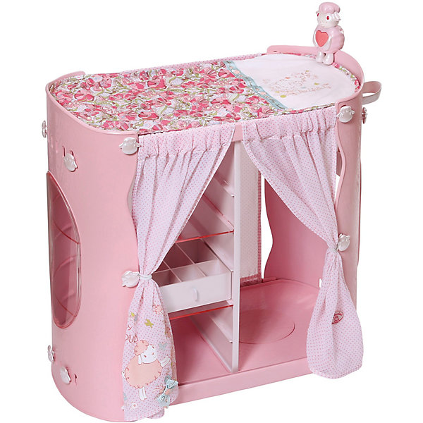 Мебель для куклы Zapf Creation Baby Annabell Гардероб с пеленальным столомМебель для кукол<br>Характеристики:<br>• возраст: от 3 лет;<br>• материал: пластик, текстиль;<br>• батарейки: 3 типа AA/LR6 1,5V (пальчиковые);<br>• наличие батареек: входят в комплект;<br>• размер упаковки: 36x32x8см;<br>• страна бренда: Германия;<br>• страна изготовитель: Китай.<br>Мебель для куклы Беби Анабель представляет собой шкафчик с полками для хранения одежды и обуви, а также ящиками для различных аксессуаров. В нижней части шкафчика есть секретный отсек для маленьких сокровищ. Отделения для одежды и обуви закрываются шторкой. На внешней стороне шкафчика имеется держатель для бутылок. Верх шкафчика - это удобный пеленальный столик с мягким матрасиком, украшенный фигуркой овечки.<br>Гардероб с пеленальным столиком оснащен звуковыми и световыми эффектами. Имеется встроенный ночник и музыкальная шкатулка, которая проигрывает колыбельную мелодию.<br>Игрушка выполнена из качественных материалов, не имеет острых углов.<br>Игрушку Baby Annabell Гардероб с пеленальным столиком, кор. можно купить в нашем интернет-магазине.<br>Ширина мм: 501; Глубина мм: 325; Высота мм: 185; Вес г: 2835; Возраст от месяцев: 36; Возраст до месяцев: 60; Пол: Женский; Возраст: Детский; SKU: 4139554;