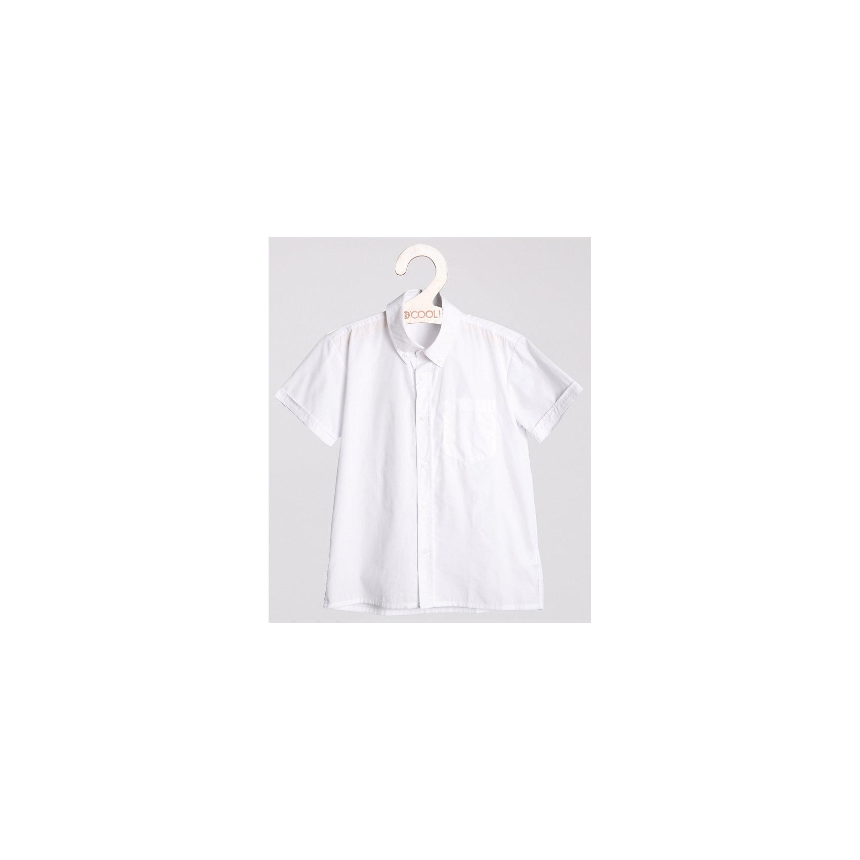 Рубашка для мальчика ScoolБлузки и рубашки<br>Рубашка для мальчика от известной марки Scool.<br>* стильная сорочка с коротким рукавом<br>* накладной карман на груди<br>* отложной воротник классической формы<br>* застежка - пуговицы<br>* манжеты на одной пуговице<br>Состав:<br>60% хлопок, 40% полиэстер<br><br>Ширина мм: 174<br>Глубина мм: 10<br>Высота мм: 169<br>Вес г: 157<br>Цвет: белый<br>Возраст от месяцев: 156<br>Возраст до месяцев: 168<br>Пол: Мужской<br>Возраст: Детский<br>Размер: 164,158,152,134,128,140,146<br>SKU: 4140557