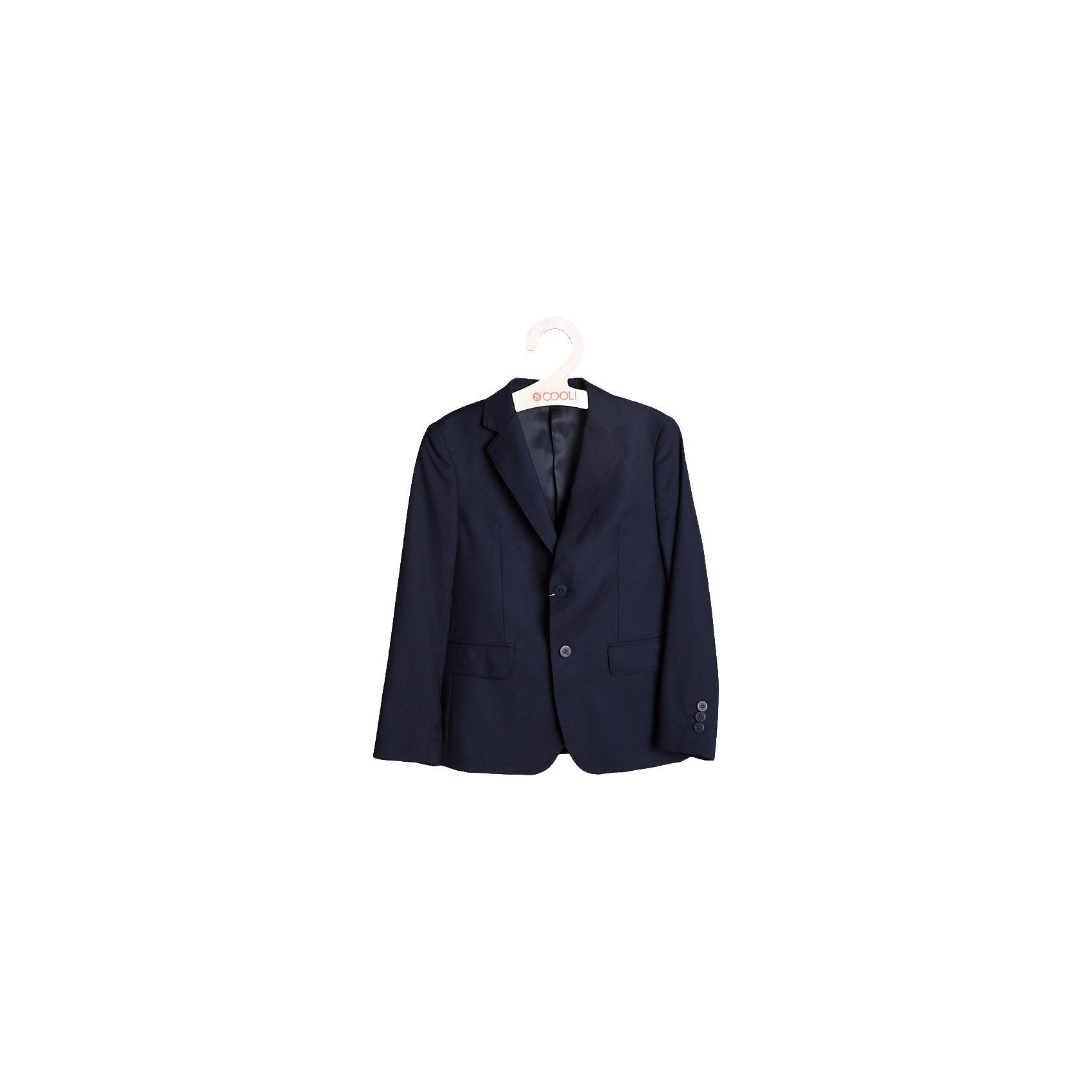 Пиджак для мальчика ScoolПиджаки и костюмы<br>Пиджак для мальчика от известной марки Scool.<br>* классический пиджак прямого кроя, выполненный из однотонного качественного материала<br> * отложной воротник с лацканом<br>* модель дополнена боковыми карманами с клапанами<br>* пиджак однобортный на двух пуговицах<br>* крой модели сохранил в себе все традиции производства классического пиджака<br>Состав:<br>Верх: 65% полиэстер, 35% вискоза, Подкладка: 65% полиэстер 35% вискоза<br><br>Ширина мм: 356<br>Глубина мм: 10<br>Высота мм: 245<br>Вес г: 519<br>Цвет: синий<br>Возраст от месяцев: 96<br>Возраст до месяцев: 108<br>Пол: Мужской<br>Возраст: Детский<br>Размер: 134,146,158,152,140,128,164<br>SKU: 4140605