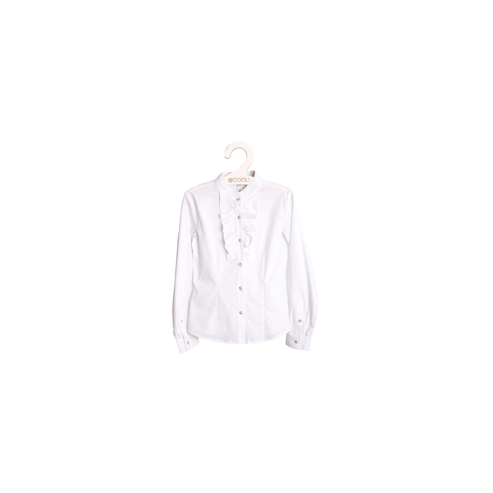 Блузка ScoolБлузки и рубашки<br>Блузка от известной марки Scool.<br>* хлопковая блузка<br>* воротник-стойка <br>* застежка - пуговицы<br>* блузку легко комбинировать с юбками и брюками, создавая красивые ансамбли<br>Состав:<br>Хлопок:68%; Полиэстер:28%; Эластан:4%<br><br>Ширина мм: 186<br>Глубина мм: 87<br>Высота мм: 198<br>Вес г: 197<br>Цвет: белый<br>Возраст от месяцев: 156<br>Возраст до месяцев: 168<br>Пол: Женский<br>Возраст: Детский<br>Размер: 164,140,158,152,146,134,128<br>SKU: 4140717