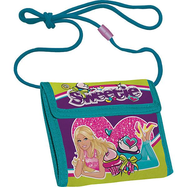 Кошелек BarbieКошельки<br>Кошелек прекрасно сохранит карманные деньги Вашего ребенка в целости и порядке. Изготовлен из прочного материала устойчивого к износу. Закрывается клапаном на липучке. Внутри есть карман для мелочи. Лямка-шнур длиной 80 см оснащена разъемным элементом для безопасности ребенка. <br> <br>Дополнительная информация:<br><br>Размер: 9 х 9(21) х 2 см. Кошелек детский на шнурке, внутреннее отделение с разделителями для купюр.<br><br>Кошелек Barbie (Барби) можно купить в нашем магазине.<br>Ширина мм: 90; Глубина мм: 90; Высота мм: 5; Вес г: 60; Возраст от месяцев: 96; Возраст до месяцев: 108; Пол: Женский; Возраст: Детский; SKU: 4140941;