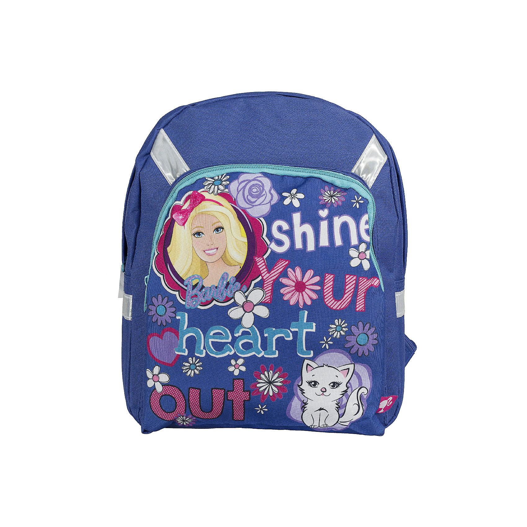 Рюкзак для свободного времени BarbieДорожные сумки и чемоданы<br>Рюкзак для свободного времени. Корпус мягкий. Одно вместительное  отделение не имеет разделителей. На фронтальной части имеется карман на молнии. Лямки с поролоновыми вставками, регулируются по длине. Удобная текстильная ручка. Светоотражающие элементы спереди, по бокам и на лямках обеспечивают необходимый уровень безопасности на дорогах и в темное время суток.<br><br>Дополнительная информация:<br><br>Одно вместительное отделение. <br>Фронтальный карман на молнии.<br>Размер 34 х 27,5 х 10 см.<br><br>Рюкзак Barbie (Барби) для свободного времени 34*27,5*10 см можно купить в нашем магазине.<br><br>Ширина мм: 340<br>Глубина мм: 275<br>Высота мм: 100<br>Вес г: 280<br>Возраст от месяцев: 72<br>Возраст до месяцев: 108<br>Пол: Женский<br>Возраст: Детский<br>SKU: 4140984