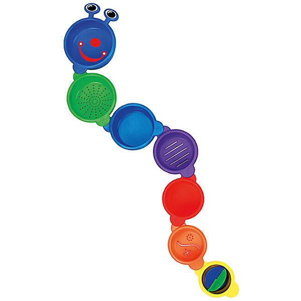 Игрушка для ванной Пирамидка-Гусеница, MunchkinИгрушки для ванной<br>Игрушка для ванной Пирамидка-Гусеница, Munchkin (Манчкин) – эта игрушка доставит малышу немало веселых минут во время купания!<br>Игрушка для ванной Пирамидка-Гусеница собирается из семи ярких разноцветных стаканчиков разного размера. Их можно поставить друг на друга, и получится пирамидка. А можно соединить друг с другом, собрав забавную гусеницу. Стаканчики пронумерованы от 1 до 7 , что поможет ребенку изучать цифры даже во время купания. Некоторые стаканчики имеют отверстия различных форм, через которые можно процеживать воду. Внутри маленького стаканчика расположена вертушка. Игрушка изготовлена из безопасного пластика. Способствует развитию воображения, тактильных ощущений и мелкой моторики рук, знакомит ребенка с понятиями цвета и размера предмета.<br><br>Дополнительная информация:<br><br>- Материал: пластик<br>- Диаметр большего стаканчика: 9,5 см.<br>- Диаметр меньшего стаканчика: 6 см.<br>- Размер упаковки: 10 х 18 х 10 см.<br>- Вес: 189 г.<br><br>Игрушку для ванной Пирамидка-Гусеница, Munchkin (Манчкин) можно купить в нашем интернет-магазине.<br>Ширина мм: 180; Глубина мм: 100; Высота мм: 100; Вес г: 189; Возраст от месяцев: 9; Возраст до месяцев: 36; Пол: Унисекс; Возраст: Детский; SKU: 4142374;
