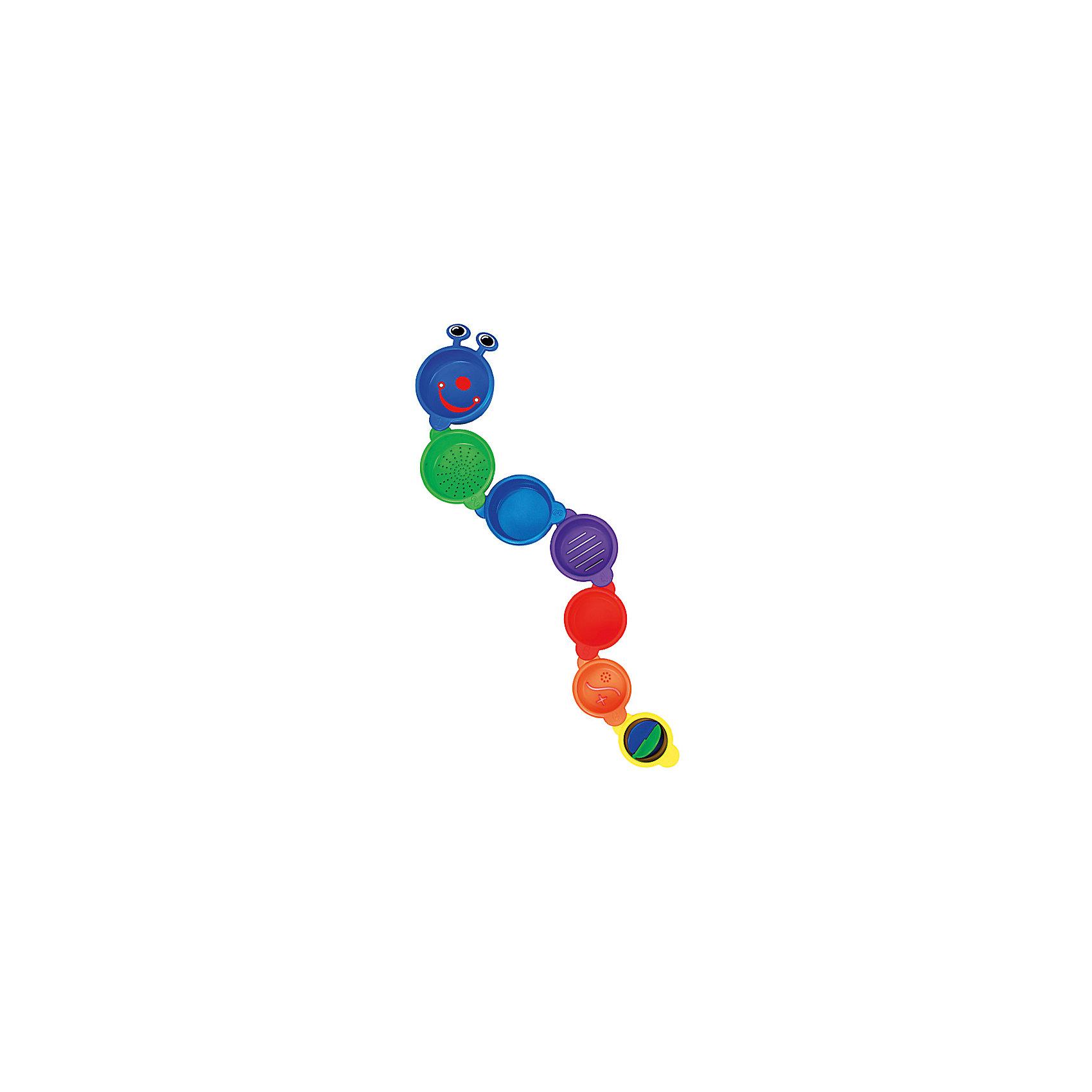 Игрушка для ванной Пирамидка-Гусеница, MunchkinЛейки и поливалки<br>Игрушка для ванной Пирамидка-Гусеница, Munchkin (Манчкин) – эта игрушка доставит малышу немало веселых минут во время купания!<br>Игрушка для ванной Пирамидка-Гусеница собирается из семи ярких разноцветных стаканчиков разного размера. Их можно поставить друг на друга, и получится пирамидка. А можно соединить друг с другом, собрав забавную гусеницу. Стаканчики пронумерованы от 1 до 7 , что поможет ребенку изучать цифры даже во время купания. Некоторые стаканчики имеют отверстия различных форм, через которые можно процеживать воду. Внутри маленького стаканчика расположена вертушка. Игрушка изготовлена из безопасного пластика. Способствует развитию воображения, тактильных ощущений и мелкой моторики рук, знакомит ребенка с понятиями цвета и размера предмета.<br><br>Дополнительная информация:<br><br>- Материал: пластик<br>- Диаметр большего стаканчика: 9,5 см.<br>- Диаметр меньшего стаканчика: 6 см.<br>- Размер упаковки: 10 х 18 х 10 см.<br>- Вес: 189 г.<br><br>Игрушку для ванной Пирамидка-Гусеница, Munchkin (Манчкин) можно купить в нашем интернет-магазине.<br><br>Ширина мм: 180<br>Глубина мм: 100<br>Высота мм: 100<br>Вес г: 189<br>Возраст от месяцев: 9<br>Возраст до месяцев: 36<br>Пол: Унисекс<br>Возраст: Детский<br>SKU: 4142374