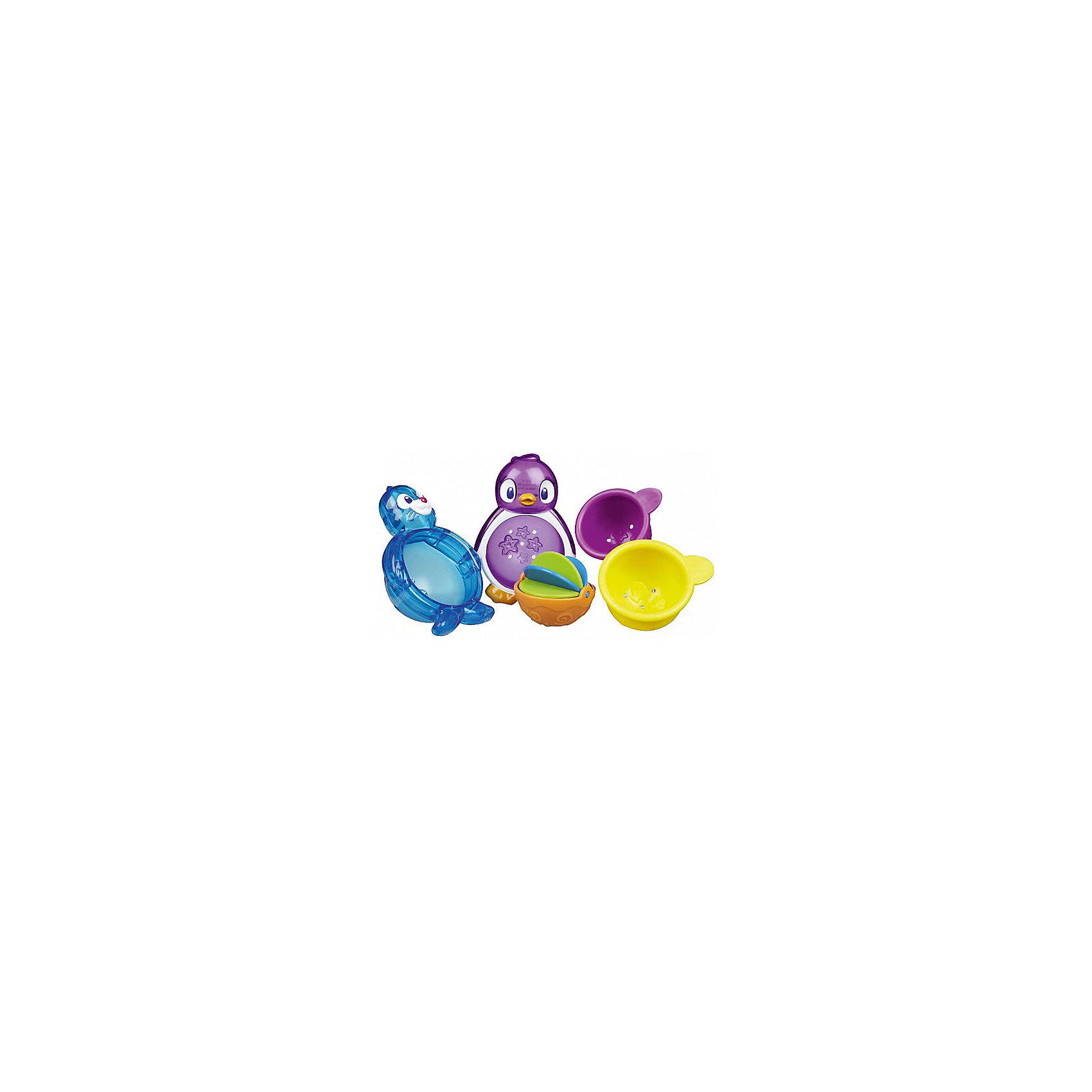 Игрушки для ванной Морские животные 2шт, MunchkinЛейки и поливалки<br>Игрушки для ванной Морские животные 2шт, Munchkin (Манчкин) – эта игрушка доставит малышу немало веселых минут во время купания!<br>Набор игрушек для ванны Munchkin Морские животные непременно понравится вашему ребенку и превратит купание в веселую игру! Набор включает две игрушки в виде тюленя и пингвина, два ковшика и чашку с вертушкой. Два забавных морских друга могут плавать на поверхности воды, словно яркие оригинальные буйки. Игрушки разбираются, поэтому вариантов игры с ними можно придумать достаточно много: зачерпывать и процеживать воду, вращать вертушку при наливании воды, а также разбирать и собирать. Игрушки сделают купание малыша не только более увлекательным, но и полезным - они развивают тактильные навыки и координацию, логическое мышление, понятия формы и цвета.<br><br>Дополнительная информация:<br><br>- В комплекте: тюлень, пингвин, 2 ковшика, чашка, вертушка<br>- Материал: пластик<br>- Размер морского животного: 7,5 х 11 х 5 см. <br>- Средний диаметр ковшика: 6 см.<br>- Размер упаковки: 20 х 24 х 12 см.<br>- Вес: 170 г.<br><br>Игрушки для ванной Морские животные 2шт, Munchkin (Манчкин) можно купить в нашем интернет-магазине.<br><br>Ширина мм: 240<br>Глубина мм: 200<br>Высота мм: 120<br>Вес г: 170<br>Возраст от месяцев: 12<br>Возраст до месяцев: 36<br>Пол: Унисекс<br>Возраст: Детский<br>SKU: 4142378