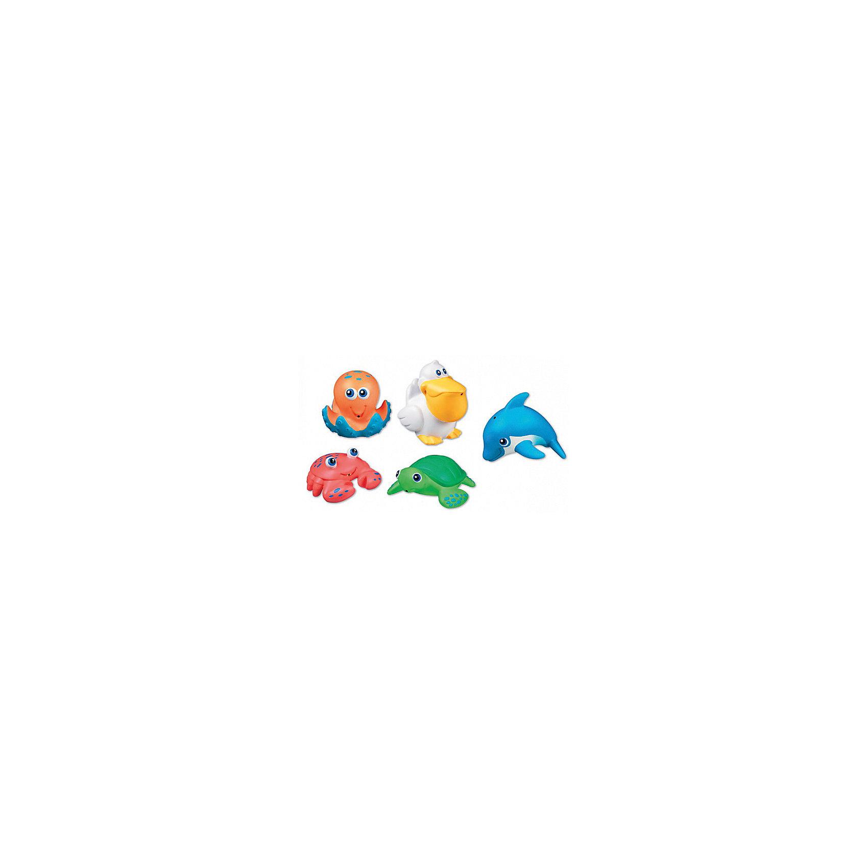 Игрушки для ванной Морские животные  5шт, MunchkinИгрушки для ванной Морские животные  5шт, Munchkin (Манчкин) – эта игрушка доставит малышу немало веселых минут во время купания!<br>Игрушки для ванной Munchkin (Манчкин) Морские животные непременно понравится вашему ребенку и превратит купание в веселую игру! Набор включает в себя пять игрушек в форме краба, дельфина, пеликана, осьминога и черепашки. Яркие игрушки выполнены из мягкого безопасного материала и приятны на ощупь. Если сначала набрать воду в игрушки, а потом нажать на них, то изо рта брызнет тонкая струя воды, что, несомненно, развеселит вашего малыша. Игрушки для ванной Морские животные способствует развитию воображения, цветового восприятия, тактильных ощущений и мелкой моторики рук.<br><br>Дополнительная информация:<br><br>- В комплекте: 5 игрушек-брызгалок<br>- Материал: ПВХ (поливинилхлорид)<br>- Размер упаковки: 7 х 16 х 18 см.<br>- Вес: 150 г.<br><br>Игрушки для ванной Морские животные  5шт, Munchkin (Манчкин) можно купить в нашем интернет-магазине.<br><br>Ширина мм: 70<br>Глубина мм: 160<br>Высота мм: 180<br>Вес г: 150<br>Возраст от месяцев: 9<br>Возраст до месяцев: 36<br>Пол: Унисекс<br>Возраст: Детский<br>SKU: 4142379