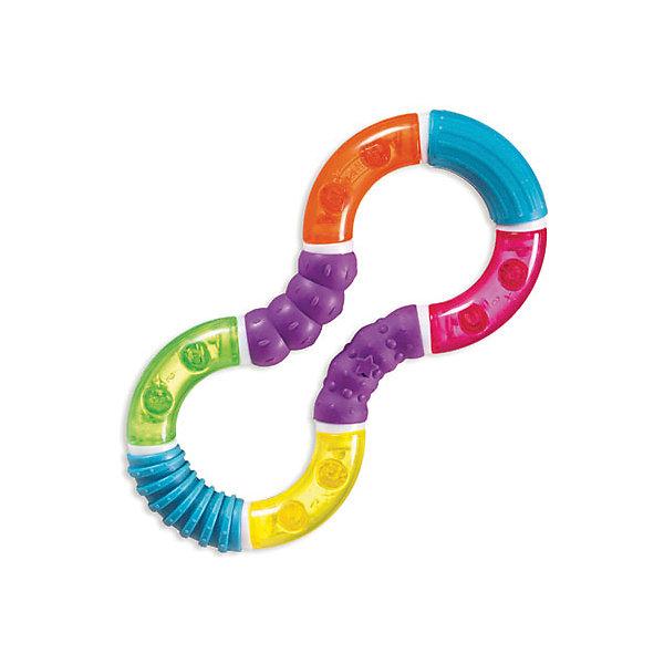 Игрушка  прорезыватель твистер, MunchkinПустышки<br>Игрушка  прорезыватель твистер, Munchkin (Манчкин) – игрушка привлечет внимание малыша и поможет ему облегчить период прорезывания зубов.<br>Игрушка-прорезыватель твистер, Munchkin (Манчкин) выполнена из разноцветных элементов в виде восьмерки. Ваш малыш сможет сжимать и скручивать игрушку, создавая различные конфигурации. Прорезыватель гремит как погремушка и имеет такие поверхности, которые можно пожевать, снимая неприятные ощущения в период прорезывания зубов. Игрушка выполнена из качественного безопасного материала, не содержит бисфенол А. Игрушка способствует развитию цветовосприятия, тактильных ощущений и мелкой моторики рук.<br><br>Дополнительная информация:<br><br>- Материал: пластик<br>- Размер игрушки: 7,5 х 16 х 1,5 см.<br>- Размер упаковки: 12 х 21 х 3 см.<br>- Вес: 100 г.<br><br>Игрушку прорезыватель твистер, Munchkin (Манчкин) можно купить в нашем интернет-магазине.<br>Ширина мм: 30; Глубина мм: 120; Высота мм: 210; Вес г: 100; Возраст от месяцев: 6; Возраст до месяцев: 36; Пол: Унисекс; Возраст: Детский; SKU: 4142387;