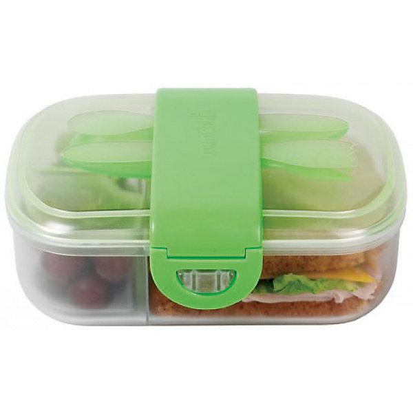 Контейнер для хранения с приборами, Munchkin, зеленыйДетская посуда<br>Контейнер для хранения с приборами, Munchkin (Манчкин) – этот бокс превосходно сохраняет продукты и не дает им перемешиваться.<br>Контейнер для еды Munchkin (Манчкин) выполнен из пластика, не содержит бисфенол А. Контейнер идеально подходит для однодневных поездок, детского сада и дошкольных учреждений. Внутри бокс разделен на 2 маленьких отделения по 118 мл и одно большое. Таким образом, пища не будет смешиваться и для всего найдется удобное место. Крышка с блокировкой помогает предотвратить разливы и рассыпание продуктов. В комплекте имеются приборы: ложка и вилка с закруглёнными краями. Приборы удобно крепятся на крышку контейнера. На дне контейнера можно написать имя ребенка, чтобы малыш не перепутал его в садике или школе. Начиная с 3-х лет, ребенок может пользоваться боксом самостоятельно. Контейнер можно мыть на верхней полке посудомоечной машины.<br><br>Дополнительная информация:<br><br>- Цвет в ассортименте<br>- Материал: пластик<br>- Размер контейнера: 19 х 5 х 14 см.<br>- Размер упаковки: 9 х 17 х 19 см.<br>- Вес: 300 г.<br>- ВНИМАНИЕ! Данный товар представлен в ассортименте. К сожалению, предварительный выбор невозможен. При заказе нескольких единиц данного товара, возможно получение одинаковых<br><br>Контейнер для хранения питания с крышками, ложкой и  вилкой, Munchkin (Манчкин) можно купить в нашем интернет-магазине.<br>Ширина мм: 90; Глубина мм: 170; Высота мм: 190; Вес г: 300; Возраст от месяцев: 12; Возраст до месяцев: 36; Пол: Унисекс; Возраст: Детский; SKU: 4142390;