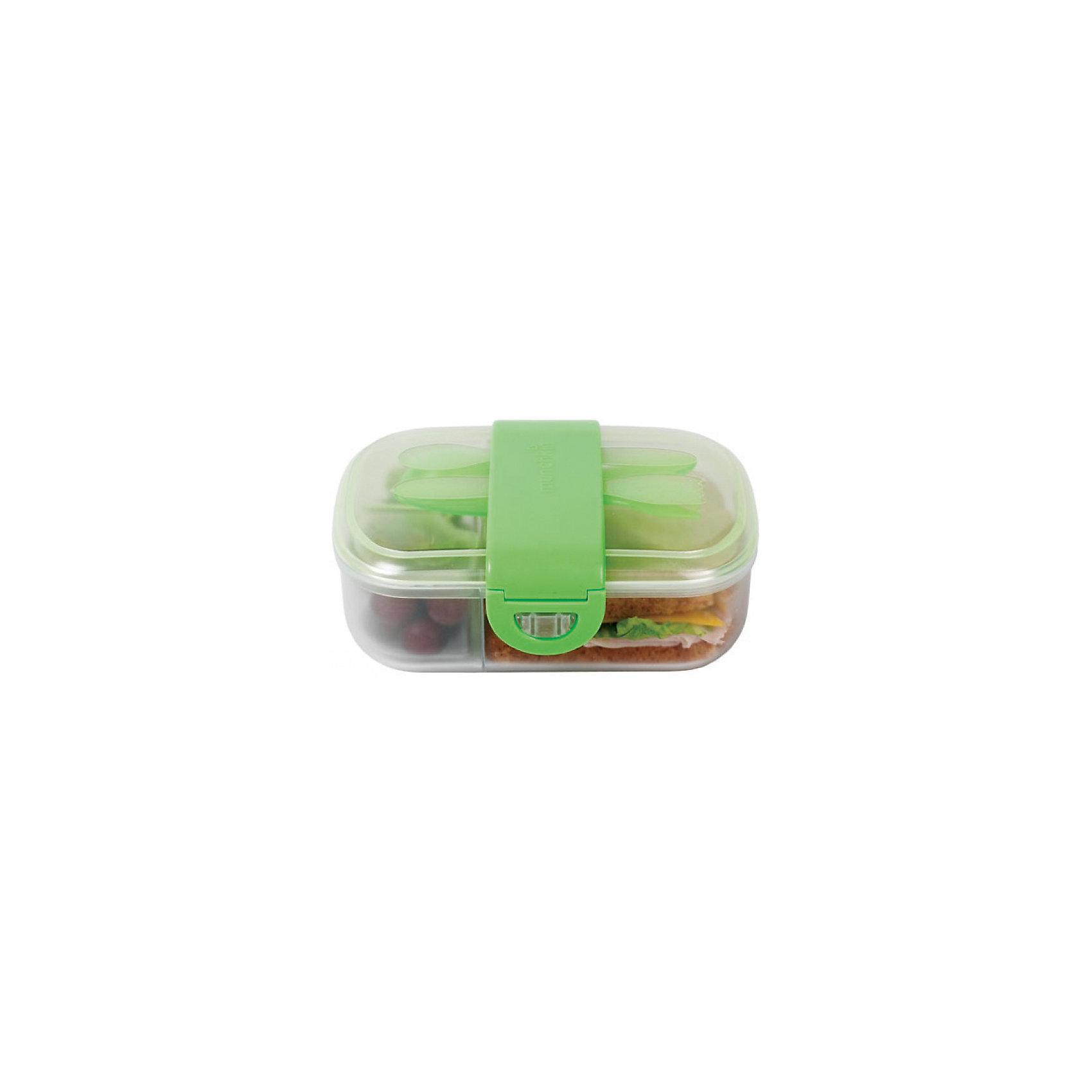 Контейнер для хранения с приборами, Munchkin, зеленыйКонтейнеры<br>Контейнер для хранения с приборами, Munchkin (Манчкин) – этот бокс превосходно сохраняет продукты и не дает им перемешиваться.<br>Контейнер для еды Munchkin (Манчкин) выполнен из пластика, не содержит бисфенол А. Контейнер идеально подходит для однодневных поездок, детского сада и дошкольных учреждений. Внутри бокс разделен на 2 маленьких отделения по 118 мл и одно большое. Таким образом, пища не будет смешиваться и для всего найдется удобное место. Крышка с блокировкой помогает предотвратить разливы и рассыпание продуктов. В комплекте имеются приборы: ложка и вилка с закруглёнными краями. Приборы удобно крепятся на крышку контейнера. На дне контейнера можно написать имя ребенка, чтобы малыш не перепутал его в садике или школе. Начиная с 3-х лет, ребенок может пользоваться боксом самостоятельно. Контейнер можно мыть на верхней полке посудомоечной машины.<br><br>Дополнительная информация:<br><br>- Цвет в ассортименте<br>- Материал: пластик<br>- Размер контейнера: 19 х 5 х 14 см.<br>- Размер упаковки: 9 х 17 х 19 см.<br>- Вес: 300 г.<br>- ВНИМАНИЕ! Данный товар представлен в ассортименте. К сожалению, предварительный выбор невозможен. При заказе нескольких единиц данного товара, возможно получение одинаковых<br><br>Контейнер для хранения питания с крышками, ложкой и  вилкой, Munchkin (Манчкин) можно купить в нашем интернет-магазине.<br><br>Ширина мм: 90<br>Глубина мм: 170<br>Высота мм: 190<br>Вес г: 300<br>Возраст от месяцев: 12<br>Возраст до месяцев: 36<br>Пол: Унисекс<br>Возраст: Детский<br>SKU: 4142390