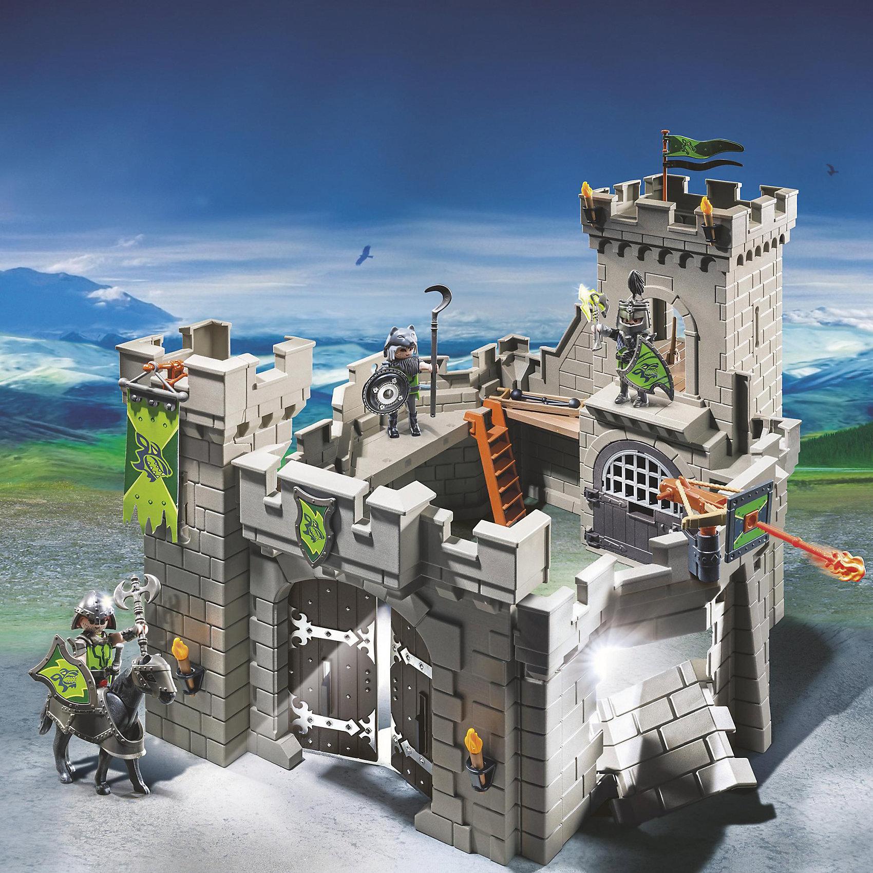 Замок Рыцарей Волка, PLAYMOBILКонструктор PLAYMOBIL (Плеймобил) 6002 Рыцари: Замок Рыцарей Волка - прекрасная возможность для ребенка проявить свою фантазию! Времена доблестных рыцарей, прекрасных дам и захватывающих приключений всегда будут для детей очень интересными. С помощью деталей набора Замок Рыцарей Волка Вы сможете построить настоящий замок, полный ходов и ловушек. Прочные стены замка надежно охраняют три рыцаря. Воры пробили дыру в стене и готовятся попасть внутрь! Катапульта стреляет без перерыва. Конструктор Замок Рыцарей Волка дает ребенку множество игровых возможностей: в него интересно играть как одному, так и целой компанией. Создай увлекательные сюжеты с набором Замок Рыцарей Волка или объедини его с другими наборами серии и игра станет еще интереснее. Придумывая увлекательные сюжеты с деталями конструктора, Ваш ребенок развивает фантазию, мышление и просто прекрасно проводит время!<br><br>Дополнительная информация:<br><br>- Конструкторы PLAYMOBIL (Плеймобил) отлично развивают мелкую моторику, фантазию и воображение;<br>- В наборе: 3 минифигурки рыцарей, детали для строительства замка, лошадь, лестницы, флаги, щиты, оружие, аксессуары;<br>- Материал: безопасный пластик;<br>- Размер минифигурок: 7,5 см;<br>- Размер упаковки: 35 х 45 х 12 см<br><br>Конструктор PLAYMOBIL (Плеймобил) 6002 Рыцари: Замок Рыцарей Волка можно купить в нашем интернет-магазине.<br><br>Ширина мм: 365<br>Глубина мм: 265<br>Высота мм: 465<br>Вес г: 2365<br>Возраст от месяцев: 48<br>Возраст до месяцев: 120<br>Пол: Мужской<br>Возраст: Детский<br>SKU: 4143341