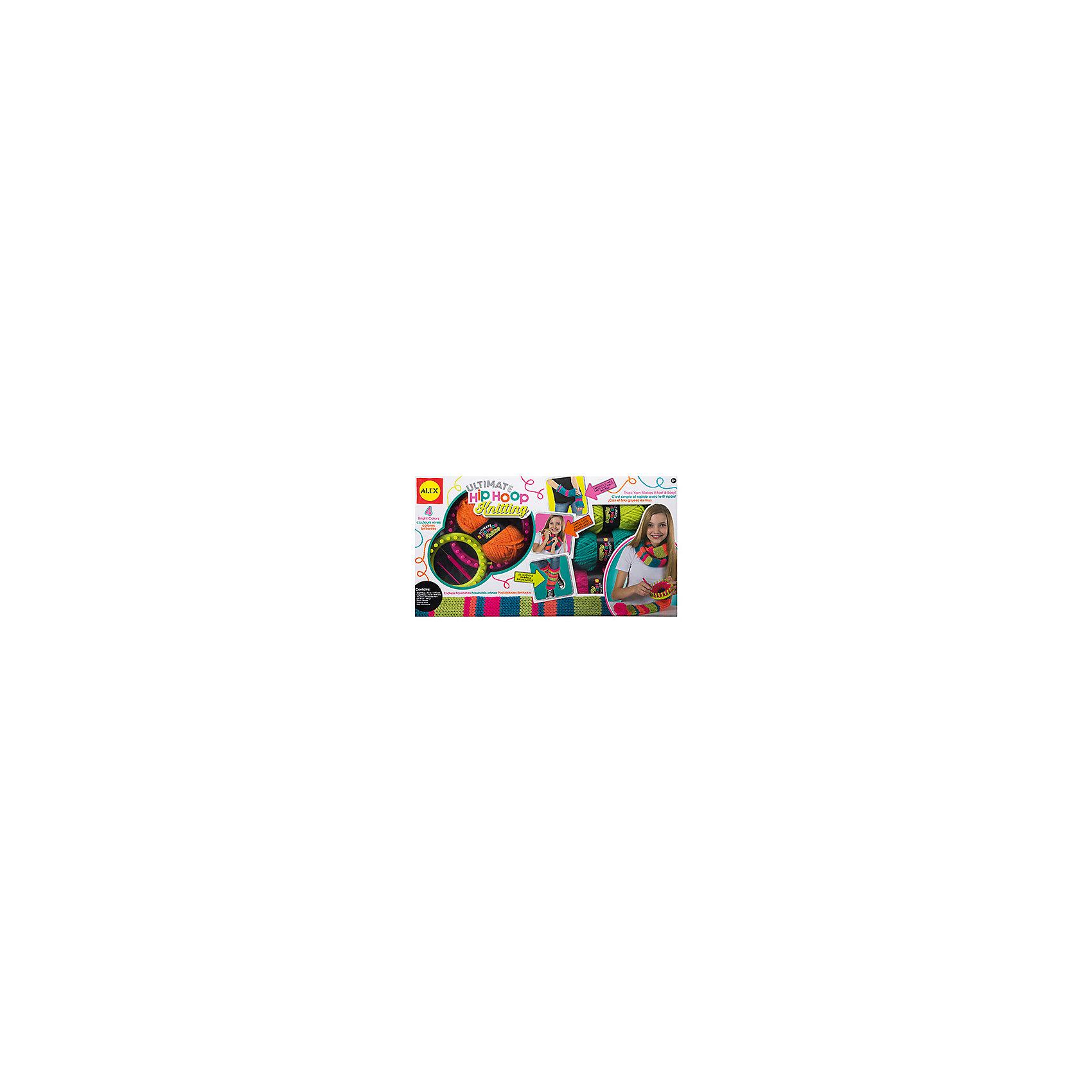 Набор  Вяжем крутые модные вещи на круговом станкеШерсть<br>Набор Вяжем крутые модные вещи на круговом станке- замечательный набор для юных любительниц рукоделия, который познакомит их с оригинальной техникой вязания - французскому круговому вязанию. Используя специальные обручи для вязания можно легко и быстро научиться вязать модные и стильные аксессуары: перчатки без пальцев, вязаные гамаши и чудесные шарфики разных цветов. В наборе Вы найдете все необходимые материалы: два обруча разных диаметров, разноцветную шерсть, безопасную пластиковую иголку и крючок.<br><br>Дополнительная информация:<br><br>- В комплекте: 2 обруча для вязания разных размеров, 4 мотка пряжи, крючок, пластиковая игла, инструкция.<br>- Материал: шерсть, пластик<br>- Размер упаковки: 58,5 х 31,7 х 6,4 см.<br>- Вес: 0,91 кг.<br><br>Набор  Вяжем крутые модные вещи на круговом станке, Alex (Алекс) можно купить в нашем интернет-магазине.<br><br>Ширина мм: 580<br>Глубина мм: 317<br>Высота мм: 64<br>Вес г: 6660<br>Возраст от месяцев: 96<br>Возраст до месяцев: 168<br>Пол: Женский<br>Возраст: Детский<br>SKU: 4144059
