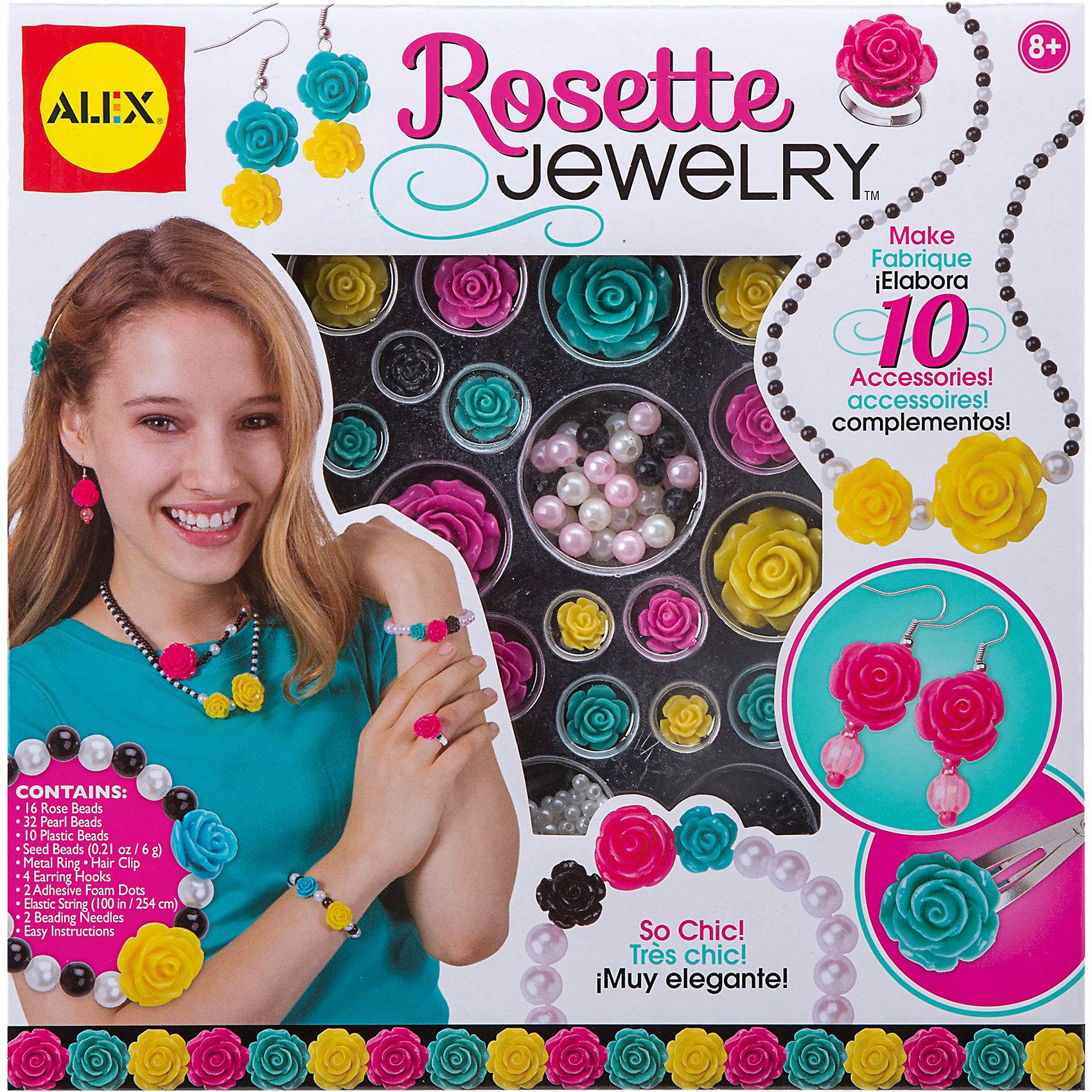 Набор для создания украшений Розы, AlexРукоделие<br>Создай кольца, заколки, ожерелья с очаровательными разноцветными розочками.<br>В наборе 16 розочек-бусин разных цветов и размеров , 32 жемчужные бусины, белый и черный бисер, металлическое кольцо с держателем для розочки, 4 крючка для сережек, заколка для волос, эластичный шнур, 2 самоклеящихся кружка для крепления розочек,  2 иголки и инструкция.<br><br>Ширина мм: 254<br>Глубина мм: 254<br>Высота мм: 50<br>Вес г: 325<br>Возраст от месяцев: 96<br>Возраст до месяцев: 168<br>Пол: Женский<br>Возраст: Детский<br>SKU: 4144066