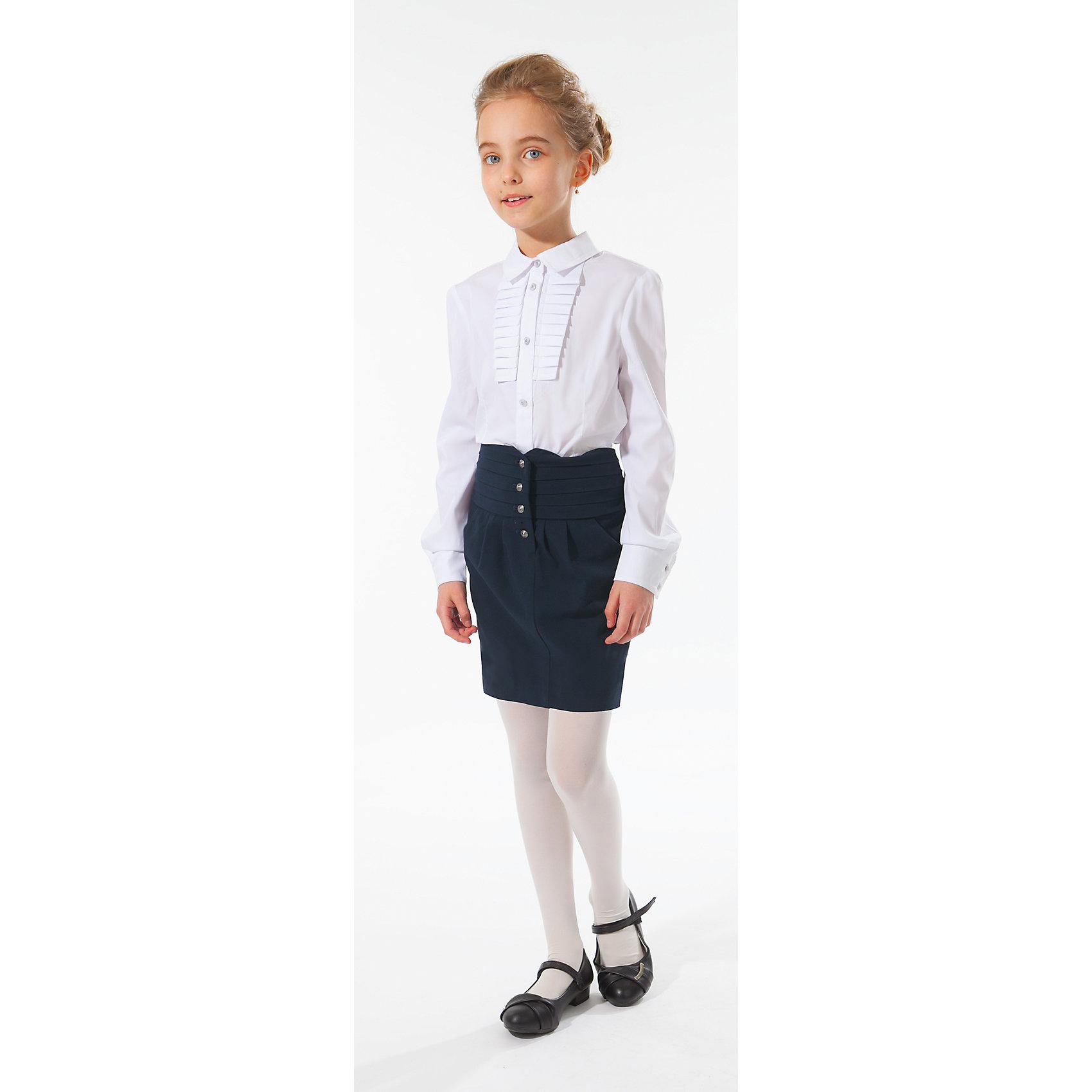 Блузка для девочки Silver SpoonБлузка для девочки Silver Spoon (Сильвер Спун) - отличный вариант для маленьких школьниц. Симпатичная модная блузка позволит создать свой оригинальный образ и чувствовать себя комфортно на протяжении всего дня занятий. Модель из хлопка очень легкая и приятная на ощупь, не сковывает движений, не раздражает кожу и позволяет ей дышать. У блузки приталенный силуэт, длинные рукава с манжетами на пуговицах, отложной воротничок, спереди застегивается на пуговицы. Модель декорирована на груди нарядной вставкой с рюшами. Классический покрой позволяет использовать блузку в различных сочетаниях - с юбкой, брюками, костюмом и другими вещами школьного гардероба. Все модели Сильвер Спун предназначены для повседневного интенсивного использования и выполнены из прочных тканей, которые позволяют вещам выглядеть великолепно на протяжении длительного срока эксплуатации. Стирка при температуре 30°С, гладить при температуре до 150°С.<br><br>Дополнительная информация:<br><br>- Цвет: белый.<br>- Материал: 71% хлопок, 25% полиамид, 4% спандекс.<br> <br>Блузку для девочки, Silver Spoon (Сильвер Спун), можно купить в нашем интернет-магазине.<br><br>Ширина мм: 186<br>Глубина мм: 87<br>Высота мм: 198<br>Вес г: 197<br>Цвет: белый<br>Возраст от месяцев: 144<br>Возраст до месяцев: 156<br>Пол: Женский<br>Возраст: Детский<br>Размер: 158,134,140,146,152,128<br>SKU: 4145913