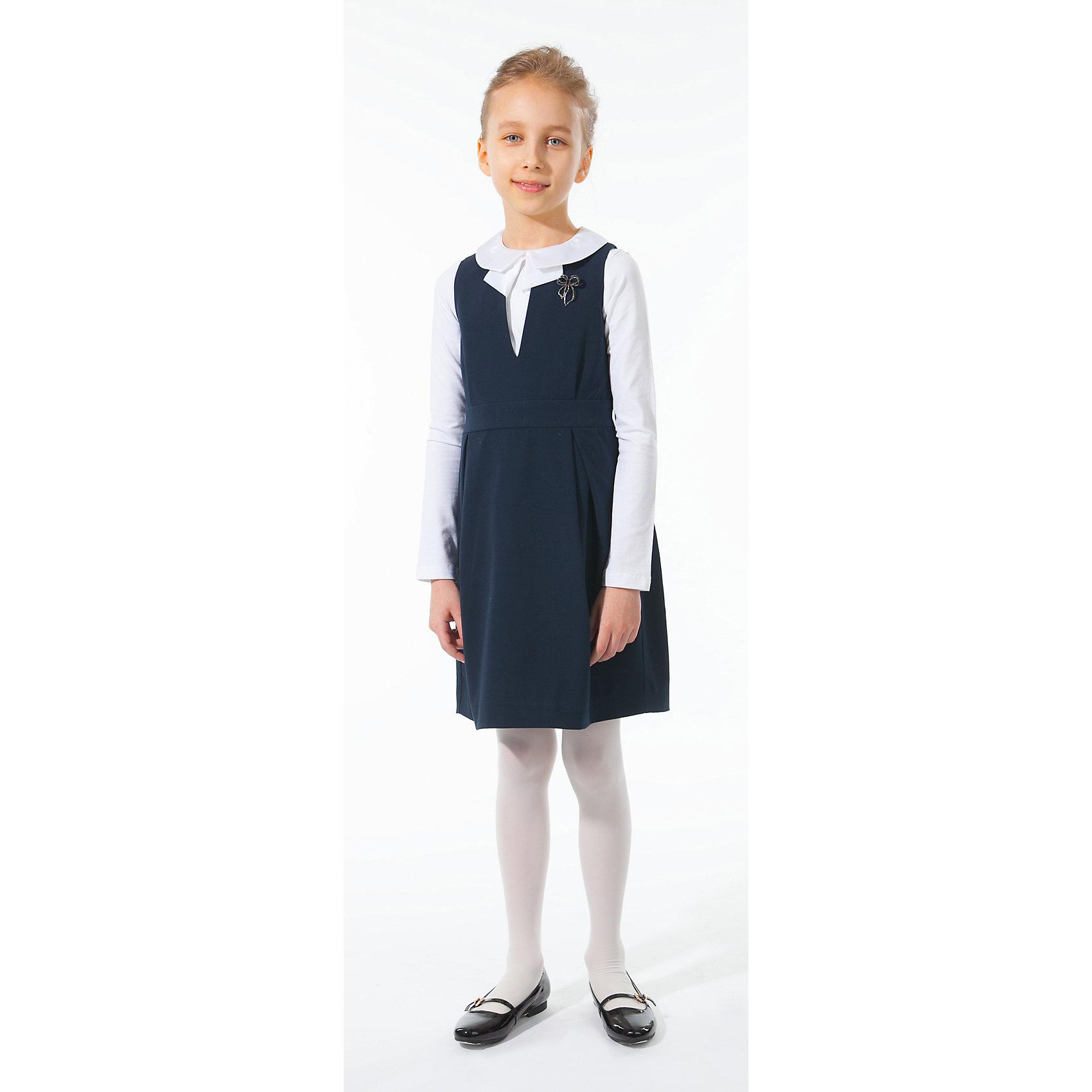 Сарафан Silver SpoonСарафан Silver Spoon (Сильвер Спун) - замечательно решение для маленьких модниц, которые хотят и на школьных занятиях выглядеть стильно и неповторимо. Элегантная модель очень легкая и комфортная, ткань приятна на ощупь, не раздражает кожу и позволяет ей дышать. У сарафана приталенный силуэт, широкие бретельки, горловина с V-образный вырезом, застежка-молния на спине. Украшен съемной брошкой в виде бабочки. Отлично сочетается с блузками, рубашками и водолазками. Все модели Сильвер Спун предназначены для повседневного интенсивногоиспользования и выполнены из прочных тканей, которые позволяют вещам выглядеть великолепно на протяжении длительного срока эксплуатации. Рекомендуется щадящая ручная стирка, гладить при низкой температуре.<br><br>Дополнительная информация:<br><br>- Цвет: темно-синий.<br>- Материал: 63% полиэстер, 32% вискоза, 5% спандекс.<br> <br>Сарафан, Silver Spoon (Сильвер Спун), можно купить в нашем интернет-магазине.<br><br>Ширина мм: 236<br>Глубина мм: 16<br>Высота мм: 184<br>Вес г: 177<br>Цвет: разноцветный<br>Возраст от месяцев: 108<br>Возраст до месяцев: 120<br>Пол: Женский<br>Возраст: Детский<br>Размер: 140,146,158,152,128,134,122<br>SKU: 4146114