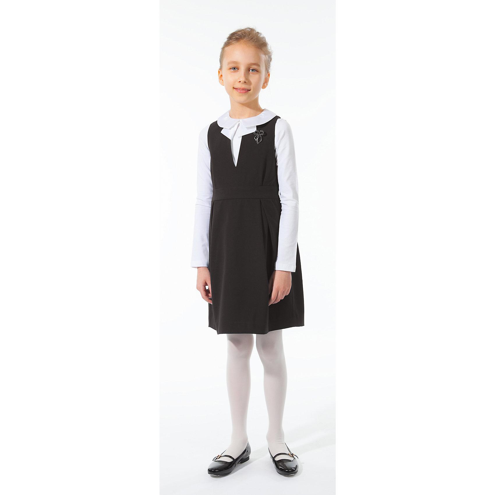 Сарафан Silver SpoonПлатья и сарафаны<br>Сарафан Silver Spoon (Сильвер Спун) - замечательно решение для маленьких модниц, которые хотят и на школьных занятиях выглядеть стильно и неповторимо. Элегантная модель очень легкая и комфортная, ткань приятна на ощупь, не раздражает кожу и позволяет ей дышать. У сарафана приталенный силуэт, широкие бретельки, горловина с V-образный вырезом, застежка-молния на спине. Украшен съемной брошкой в виде бабочки. Отлично сочетается с блузками, рубашками и водолазками. Все модели Сильвер Спун предназначены для повседневного интенсивного использования и выполнены из прочных тканей, которые позволяют вещам выглядеть великолепно на протяжении длительного срока эксплуатации. Рекомендуется щадящая ручная стирка, гладить при низкой температуре.<br><br>Дополнительная информация:<br><br>- Цвет: черный.<br>- Материал: 63% полиэстер, 32% вискоза, 5% спандекс.<br><br> Сарафан, Silver Spoon (Сильвер Спун), можно купить в нашем интернет-магазине.<br><br>Ширина мм: 236<br>Глубина мм: 16<br>Высота мм: 184<br>Вес г: 177<br>Цвет: черный<br>Возраст от месяцев: 132<br>Возраст до месяцев: 144<br>Пол: Женский<br>Возраст: Детский<br>Размер: 152,158,146,134,128,140<br>SKU: 4146127