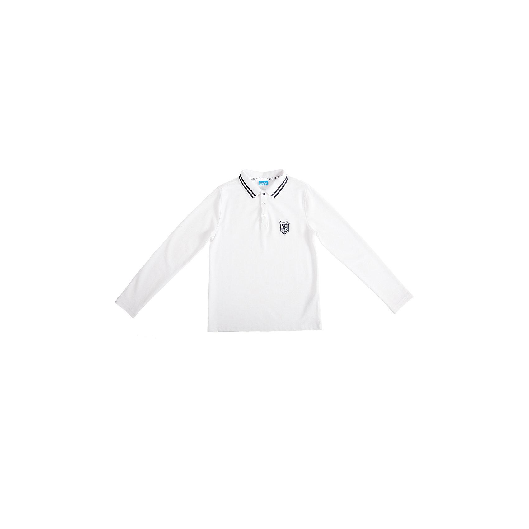 Футболка-поло с длинным рукавом для мальчика Button BlueБлузки и рубашки<br>Стильное поло из белоснежного трикотажного пике - прекрасная альтернатива текстильной рубашке. Поло подарит мальчику  комфорт и свободу движений, не нарушив школьного дресскода. В отделке модели небольшая фирменная вышивка.<br>Состав:<br>50% хлопок                        50% полиэстер<br><br>Ширина мм: 230<br>Глубина мм: 40<br>Высота мм: 220<br>Вес г: 250<br>Цвет: белый<br>Возраст от месяцев: 72<br>Возраст до месяцев: 84<br>Пол: Мужской<br>Возраст: Детский<br>Размер: 122,152,146,128,134,158,140<br>SKU: 4147150