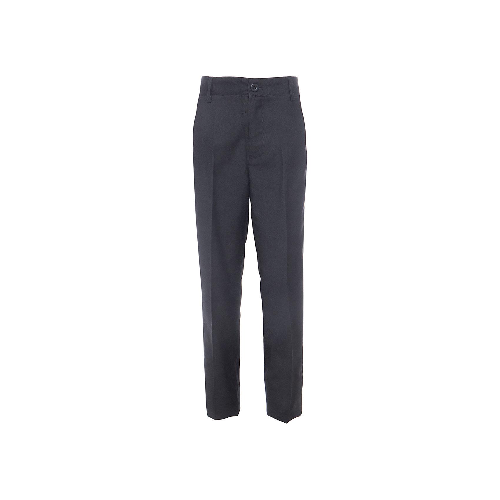 Брюки для мальчика Button BlueБрюки<br>Классические темные брюки - оптимальное решение для каждого школьного дня! Брюки имеют модную посадку на фигуре, прекрасно сидят и хорошо держат форму. Внутренняя часть пояса имеет удобную регулировку объема.<br>Состав:<br>ткань верха:  80% полиэстер, 20% вискоза  подкладка:  100%полиэстер<br><br>Ширина мм: 215<br>Глубина мм: 88<br>Высота мм: 191<br>Вес г: 336<br>Цвет: черный<br>Возраст от месяцев: 132<br>Возраст до месяцев: 144<br>Пол: Мужской<br>Возраст: Детский<br>Размер: 152,158,140,146,134,122,128<br>SKU: 4147262
