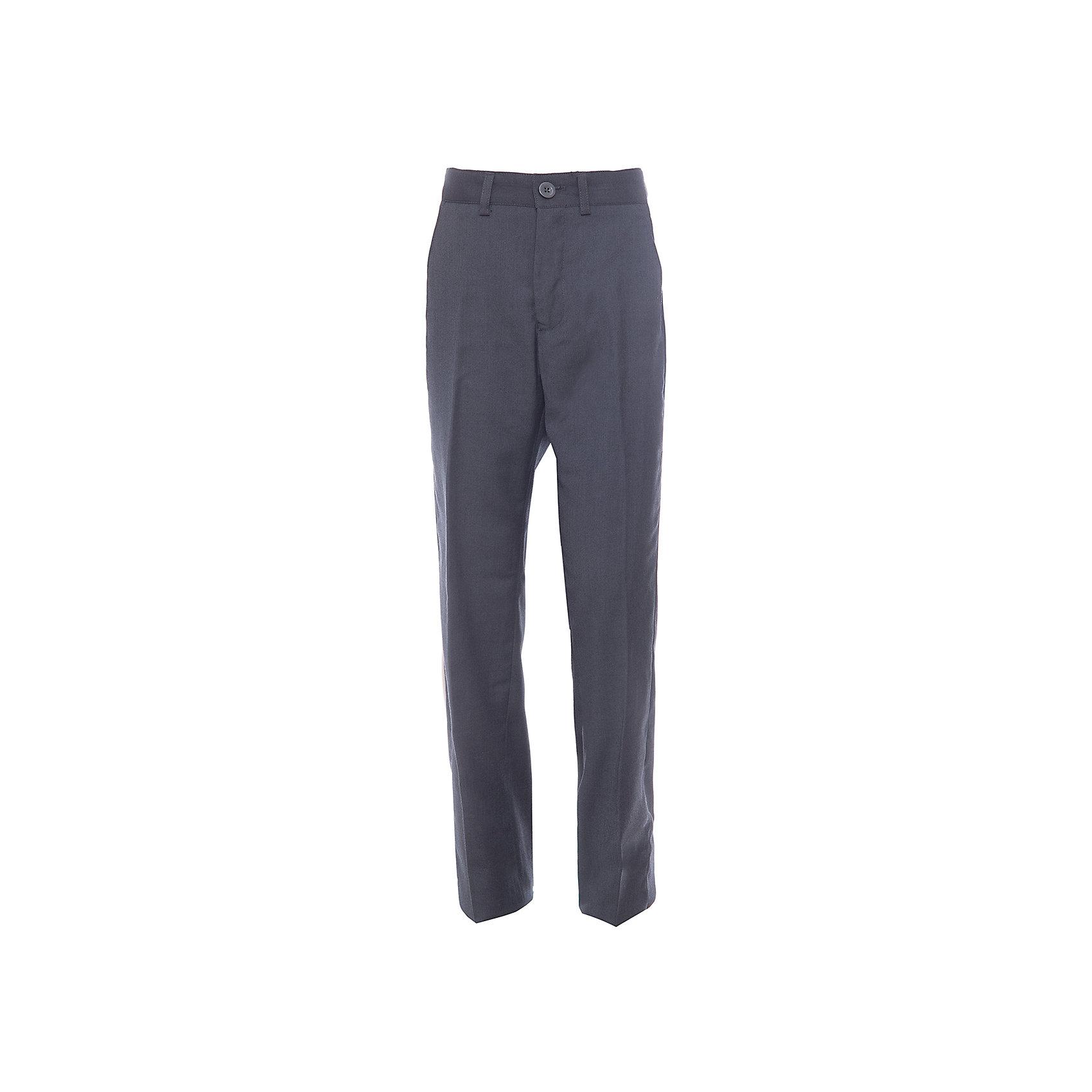 Брюки для мальчика Button BlueКлассические темные брюки - оптимальное решение для каждого школьного дня! Брюки имеют модную посадку на фигуре, прекрасно сидят и хорошо держат форму. Внутренняя часть пояса имеет удобную регулировку объема.<br>Состав:<br>ткань верха:  80% полиэстер, 20% вискоза  подкладка:  100%полиэстер<br><br>Ширина мм: 215<br>Глубина мм: 88<br>Высота мм: 191<br>Вес г: 336<br>Цвет: серый<br>Возраст от месяцев: 120<br>Возраст до месяцев: 132<br>Пол: Мужской<br>Возраст: Детский<br>Размер: 146,158,122,140,134,152,128<br>SKU: 4147270