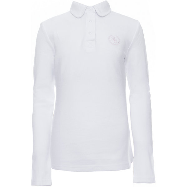 Купить Футболка-поло с длинным рукавом для девочки Button Blue, Китай, белый, 122, 134, 128, 158, 146, 140, 152, Женский