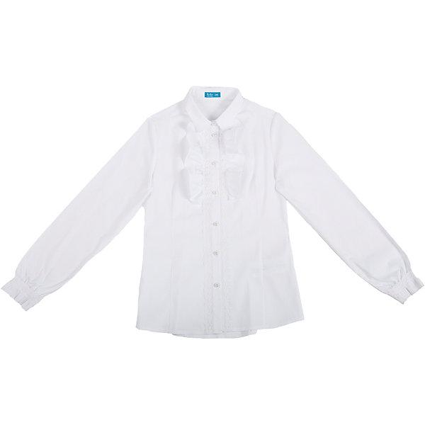 Блузка для девочки Button BlueБлузки и рубашки<br>Нарядная блузка с крупной рюшей у планки идеально подойдет для 1 го сентября и других школьных торжеств. Приталенный силуэт и кружево в оформлении планки придаст образу ученицы романтичность.<br>Состав:<br>62% хлопок,  35%нейлон,                3% эластан<br>Ширина мм: 186; Глубина мм: 87; Высота мм: 198; Вес г: 197; Цвет: белый; Возраст от месяцев: 120; Возраст до месяцев: 132; Пол: Женский; Возраст: Детский; Размер: 146,122,134,158,140,152,128; SKU: 4147324;