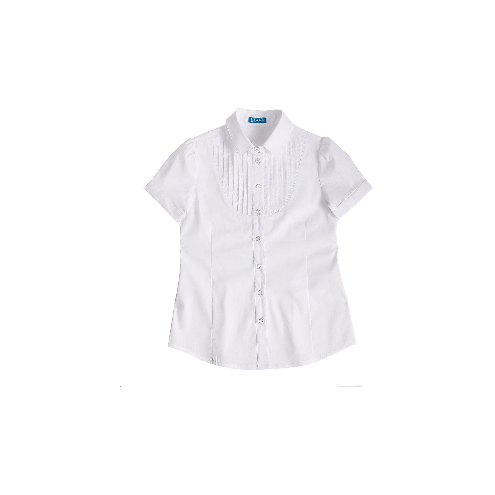 Блузка для девочки Button BlueБелая блузка с коротким рукавом - удачное решение для жарких школьных классов! Блузку украшает оригинальная  кокетка с защипами и интересная конструкция рукава с тонким манжетом и застежкой на пуговицу.<br>Состав:<br>62% хлопок,  35%нейлон,                3% эластан<br><br>Ширина мм: 186<br>Глубина мм: 87<br>Высота мм: 198<br>Вес г: 197<br>Цвет: белый<br>Возраст от месяцев: 132<br>Возраст до месяцев: 144<br>Пол: Женский<br>Возраст: Детский<br>Размер: 152,158,122,128,134,140,146<br>SKU: 4147332