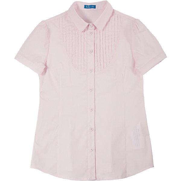 Блузка для девочки Button BlueБлузки и рубашки<br>Светлая блузка с коротким рукавом - удачное решение для жарких школьных классов! Блузку украшает оригинальная  кокетка с защипами и интересная конструкция рукава с тонким манжетом и застежкой на пуговицу.<br>Состав:<br>62% хлопок,  35%нейлон,                3% эластан<br><br>Ширина мм: 186<br>Глубина мм: 87<br>Высота мм: 198<br>Вес г: 197<br>Цвет: розовый<br>Возраст от месяцев: 72<br>Возраст до месяцев: 84<br>Пол: Женский<br>Возраст: Детский<br>Размер: 122,128,146,158,140,134,152<br>SKU: 4147340