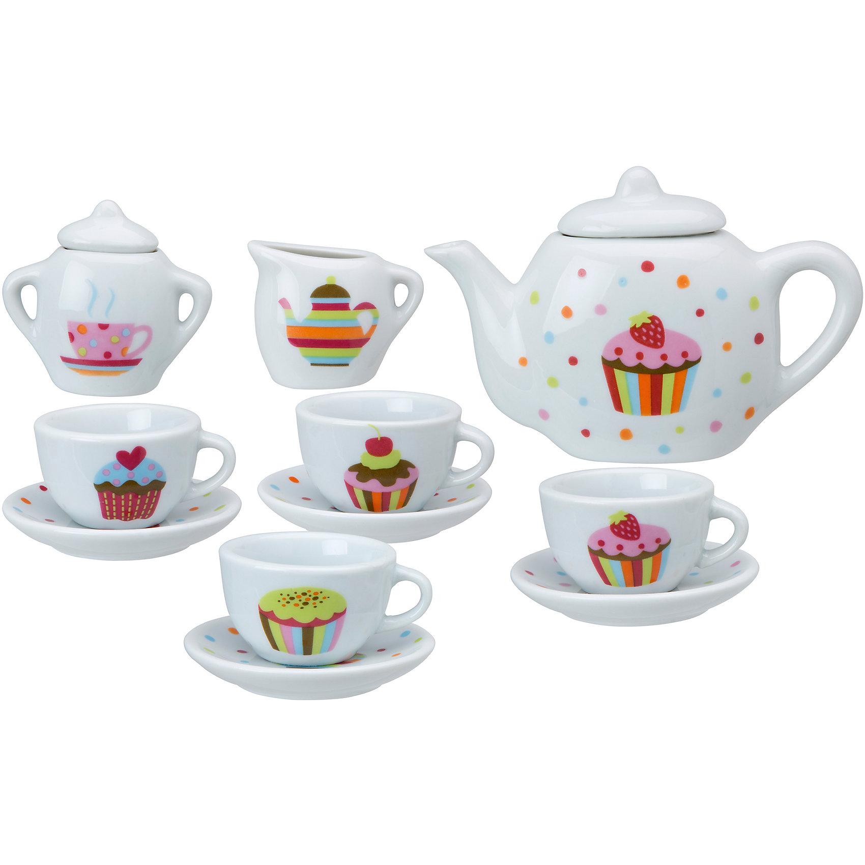 Чайный сервиз Тортик, 13 предметов, ALEXПосуда и аксессуары для детской кухни<br>Чайный сервиз от Алекс из 13 предметов сделан из высококачественной керамики. Набор отличает классический стильный дизайн и очаровательный декор в виде кексов. В комплект входят 4 чашки, 4 блюдца, чайник с крышкой, сахарница с крышкой и кувшинчик для сливок.<br><br>Дополнительная информация:<br><br>Размер упаковки: 25, 4 х 21 х 5 см<br>Материал: керамика<br><br>Чайный сервиз Тортик, 13 предметов, ALEX (Алекс) можно купить в нашем магазине.<br><br>Ширина мм: 250<br>Глубина мм: 210<br>Высота мм: 50<br>Вес г: 950<br>Возраст от месяцев: 36<br>Возраст до месяцев: 96<br>Пол: Женский<br>Возраст: Детский<br>SKU: 4149439
