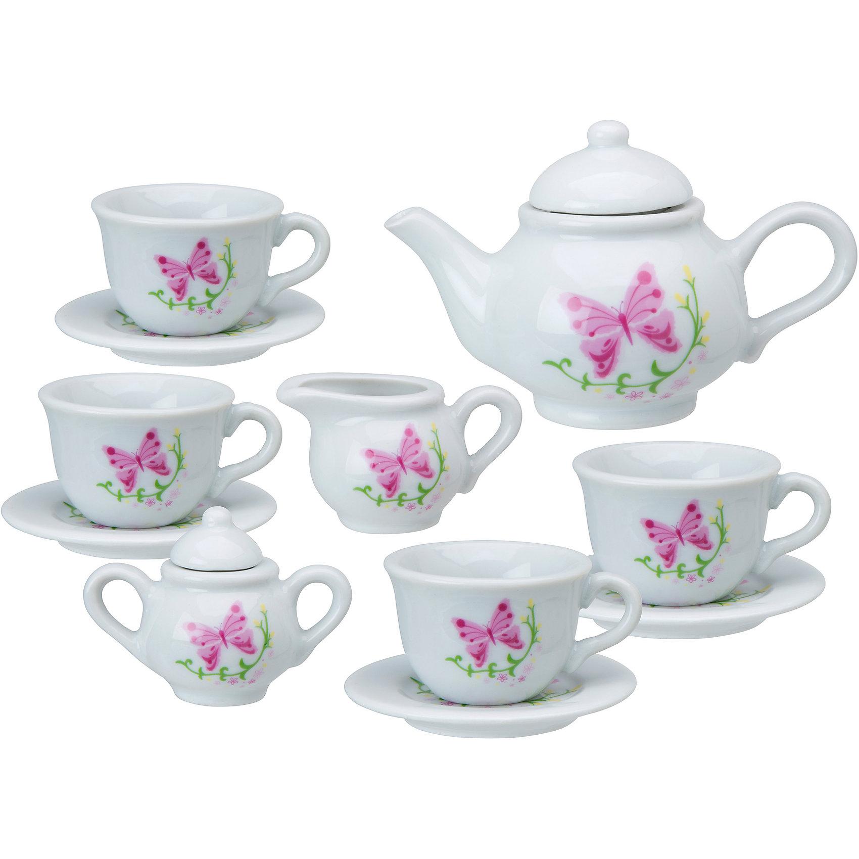 Чайный сервиз Бабочки в саду, 13 предметов, ALEXПосуда и аксессуары для детской кухни<br>Чайный сервиз от Алекс из 13 предметов сделан из высококачественной керамики. Набор отличает классический стильный дизайн и очаровательный декор в виде бабочек. В комплект входят 4 чашки, 4 блюдца, чайник с крышкой, сахарница с крышкой и кувшинчик для сливок.<br><br>Дополнительная информация:<br><br>Размер упаковки: 25 х 21 х 5 см.<br>Материал: керамика<br><br>Чайный сервиз Бабочки в саду, 13 предметов, ALEX (Алекс) можно купить в нашем магазине.<br><br>Ширина мм: 305<br>Глубина мм: 229<br>Высота мм: 102<br>Вес г: 700<br>Возраст от месяцев: 36<br>Возраст до месяцев: 96<br>Пол: Женский<br>Возраст: Детский<br>SKU: 4149440