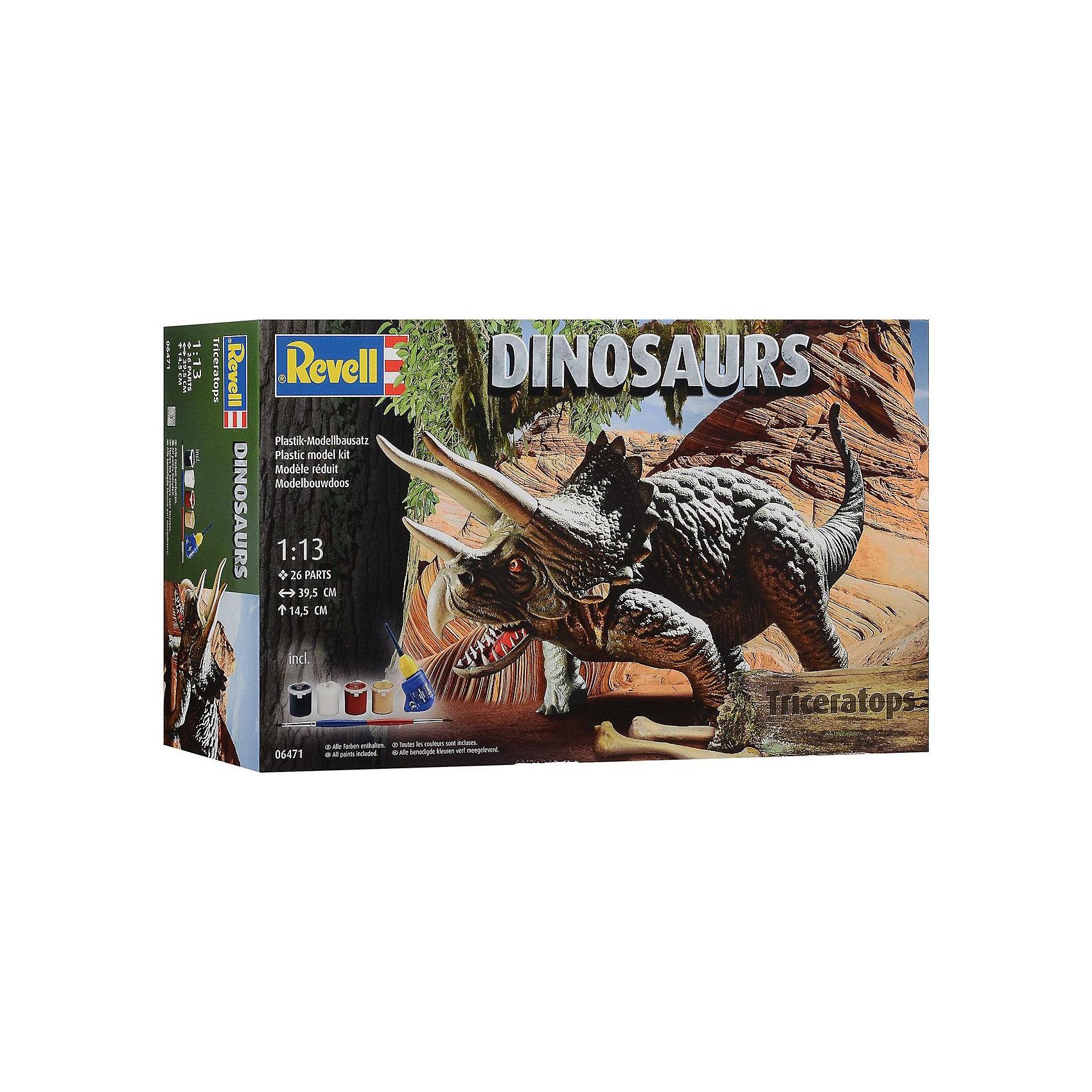 Трицератопс, RevellДраконы и динозавры<br>Характеристики товара:<br><br>• возраст от 10 лет;<br>• материал: пластик;<br>• в комплекте: 26 деталей, 4 банки с краской, кисточка, клей;<br>• размер собранной модели 14,5х39,5 см;<br>• масштаб 1:13;<br>• размер упаковки 44х26х11 см;<br>• вес упаковки 500 гр.;<br>• страна производитель: Польша.<br><br>Сборная модель «Трицератопс» Revell позволит познакомиться с миром доисторических обитателей нашей планеты и собрать модель Трицератопса. Все детали легко соединяются между собой без дополнительных инструментов, для прочности они склеиваются между собой. Готовую модель детям предстоит самостоятельно раскрасить акриловыми красками. Такое занятие не только увлечет ребенка, но и способствует развитию моторики рук, логического мышления, усидчивости.<br><br>Трицератопса Revell можно приобрести в нашем интернет-магазине.<br><br>Ширина мм: 440<br>Глубина мм: 248<br>Высота мм: 115<br>Вес г: 752<br>Возраст от месяцев: 120<br>Возраст до месяцев: 180<br>Пол: Мужской<br>Возраст: Детский<br>SKU: 4150237