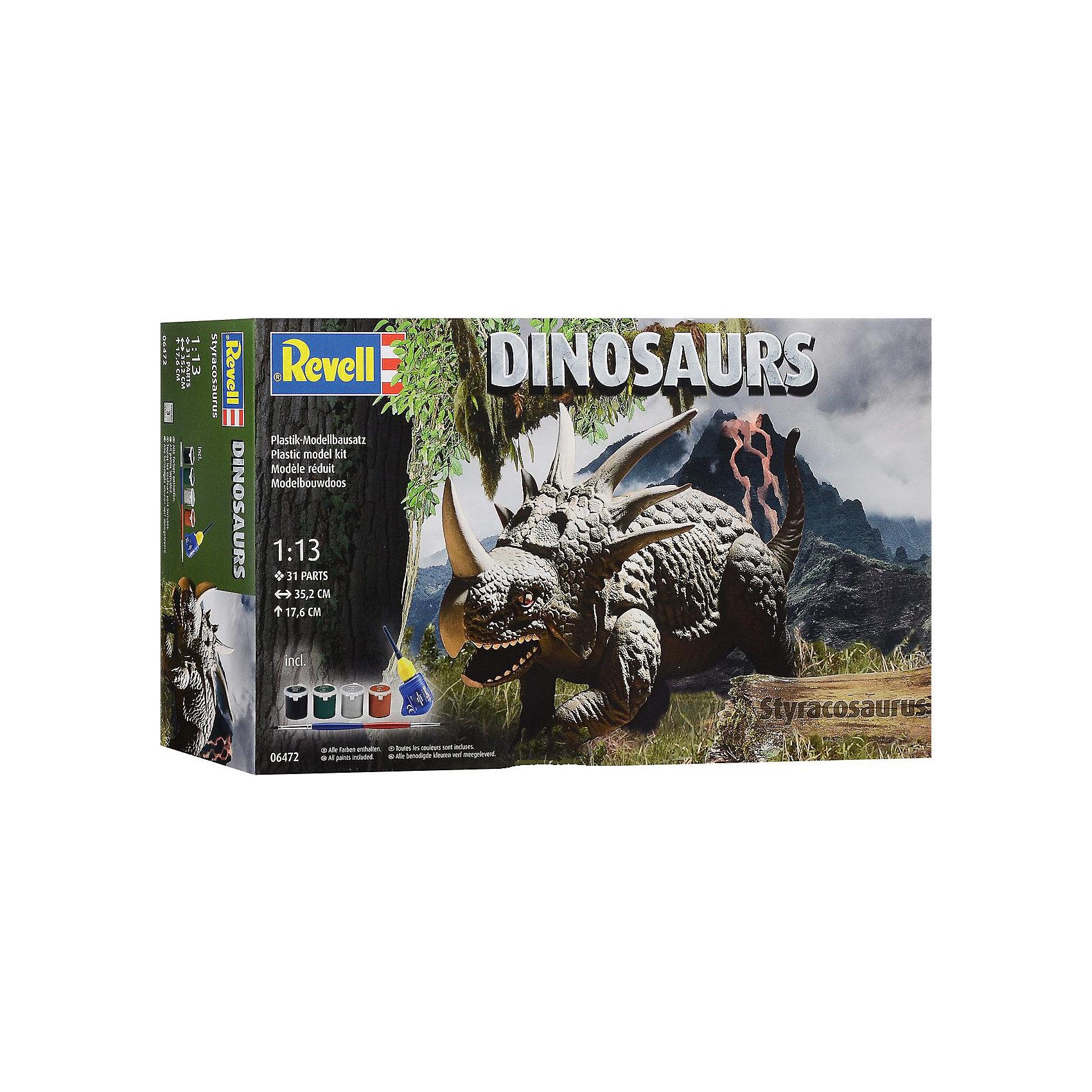 Стиракозавр, RevellДраконы и динозавры<br>Характеристики товара:<br><br>• возраст от 10 лет;<br>• материал: пластик;<br>• в комплекте: 31 деталь, 4 банки с краской, кисточка, клей;<br>• высота собранной модели 17,6 см;<br>• масштаб 1:13;<br>• размер упаковки 44х25х11,2 см;<br>• вес упаковки 900 гр.;<br>• страна производитель: Польша.<br><br>Сборная модель «Стиракозавр» Revell позволит познакомиться с миром доисторических обитателей нашей планеты и собрать модель Стиракозавра. Все детали легко соединяются между собой без дополнительных инструментов, для прочности они склеиваются между собой. Готовую модель детям предстоит самостоятельно раскрасить акриловыми красками. Такое занятие не только увлечет ребенка, но и способствует развитию моторики рук, логического мышления, усидчивости.<br><br>Стиракозавра Revell можно приобрести в нашем интернет-магазине.<br><br>Ширина мм: 440<br>Глубина мм: 248<br>Высота мм: 117<br>Вес г: 796<br>Возраст от месяцев: 120<br>Возраст до месяцев: 180<br>Пол: Мужской<br>Возраст: Детский<br>SKU: 4150238